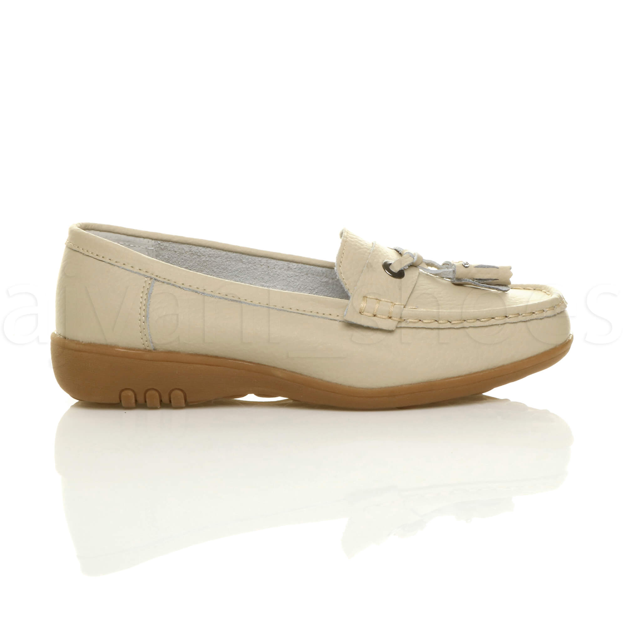 WOMENS-LADIES-LOW-HEEL-WEDGE-LEATHER-TASSEL-LOAFERS-COMFORT-MOCCASINS-SHOES-SIZE thumbnail 3