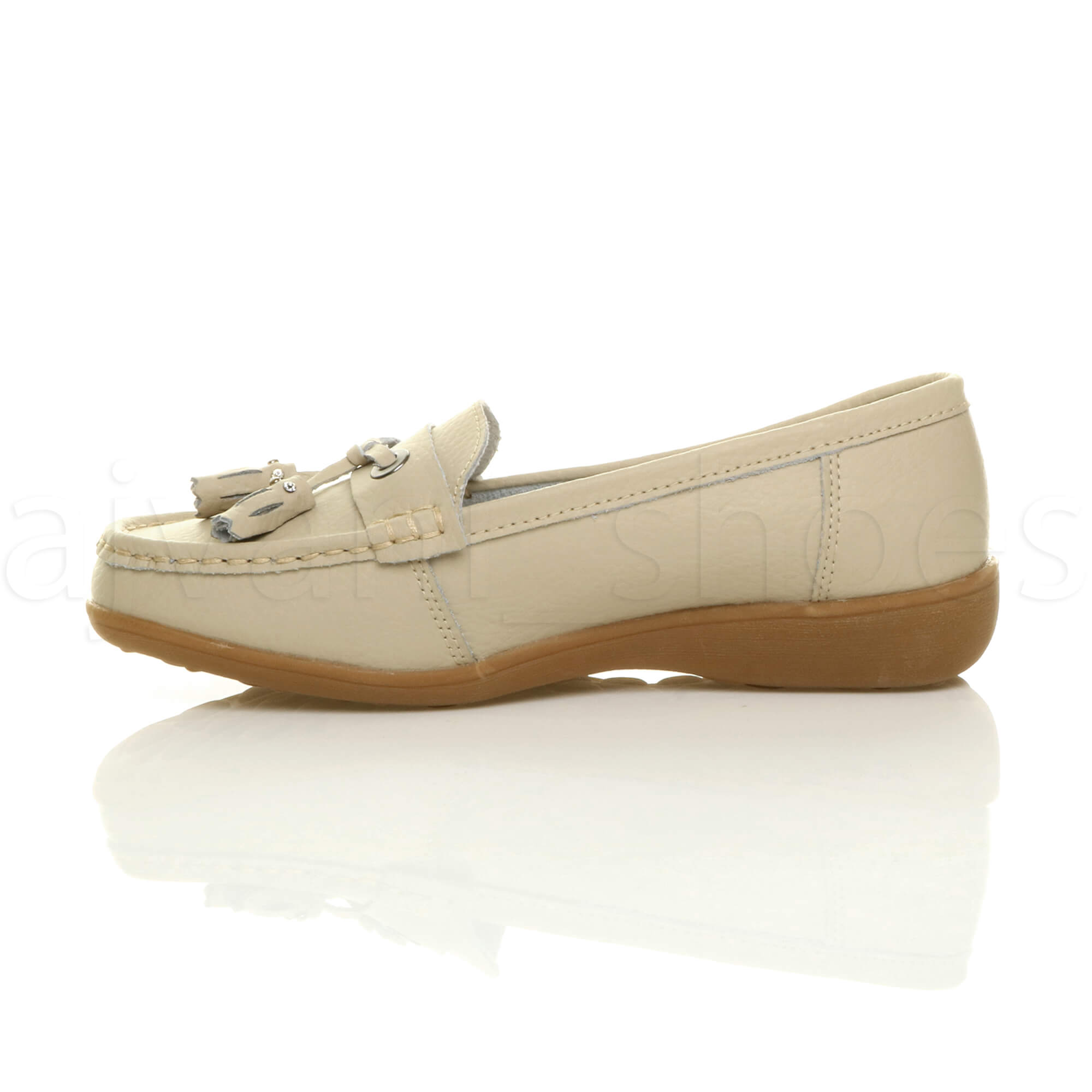 WOMENS-LADIES-LOW-HEEL-WEDGE-LEATHER-TASSEL-LOAFERS-COMFORT-MOCCASINS-SHOES-SIZE thumbnail 4