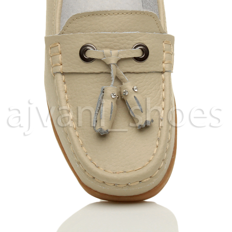 WOMENS-LADIES-LOW-HEEL-WEDGE-LEATHER-TASSEL-LOAFERS-COMFORT-MOCCASINS-SHOES-SIZE thumbnail 6
