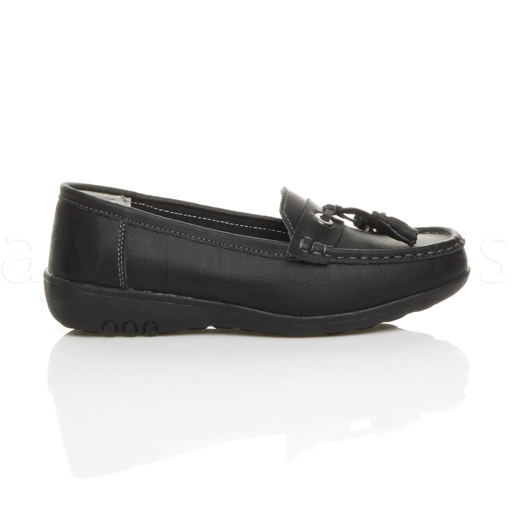 WOMENS-LADIES-LOW-HEEL-WEDGE-LEATHER-TASSEL-LOAFERS-COMFORT-MOCCASINS-SHOES-SIZE thumbnail 11