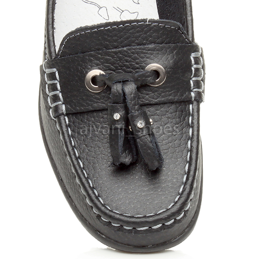WOMENS-LADIES-LOW-HEEL-WEDGE-LEATHER-TASSEL-LOAFERS-COMFORT-MOCCASINS-SHOES-SIZE thumbnail 14