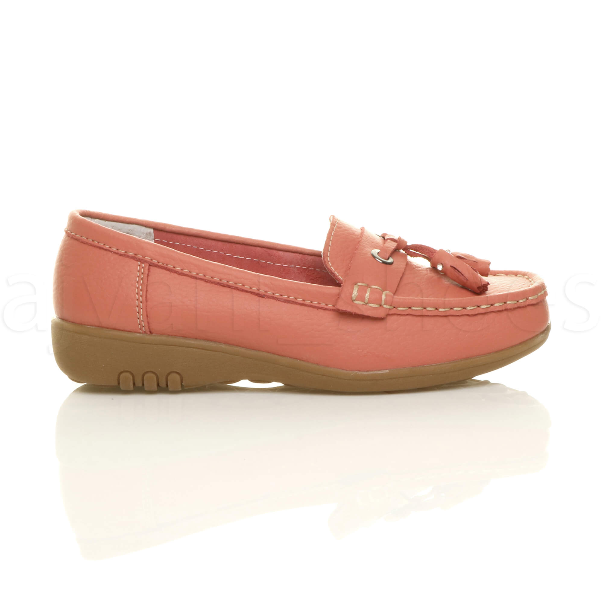WOMENS-LADIES-LOW-HEEL-WEDGE-LEATHER-TASSEL-LOAFERS-COMFORT-MOCCASINS-SHOES-SIZE thumbnail 27