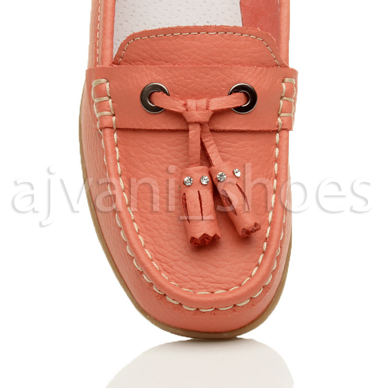 WOMENS-LADIES-LOW-HEEL-WEDGE-LEATHER-TASSEL-LOAFERS-COMFORT-MOCCASINS-SHOES-SIZE thumbnail 30