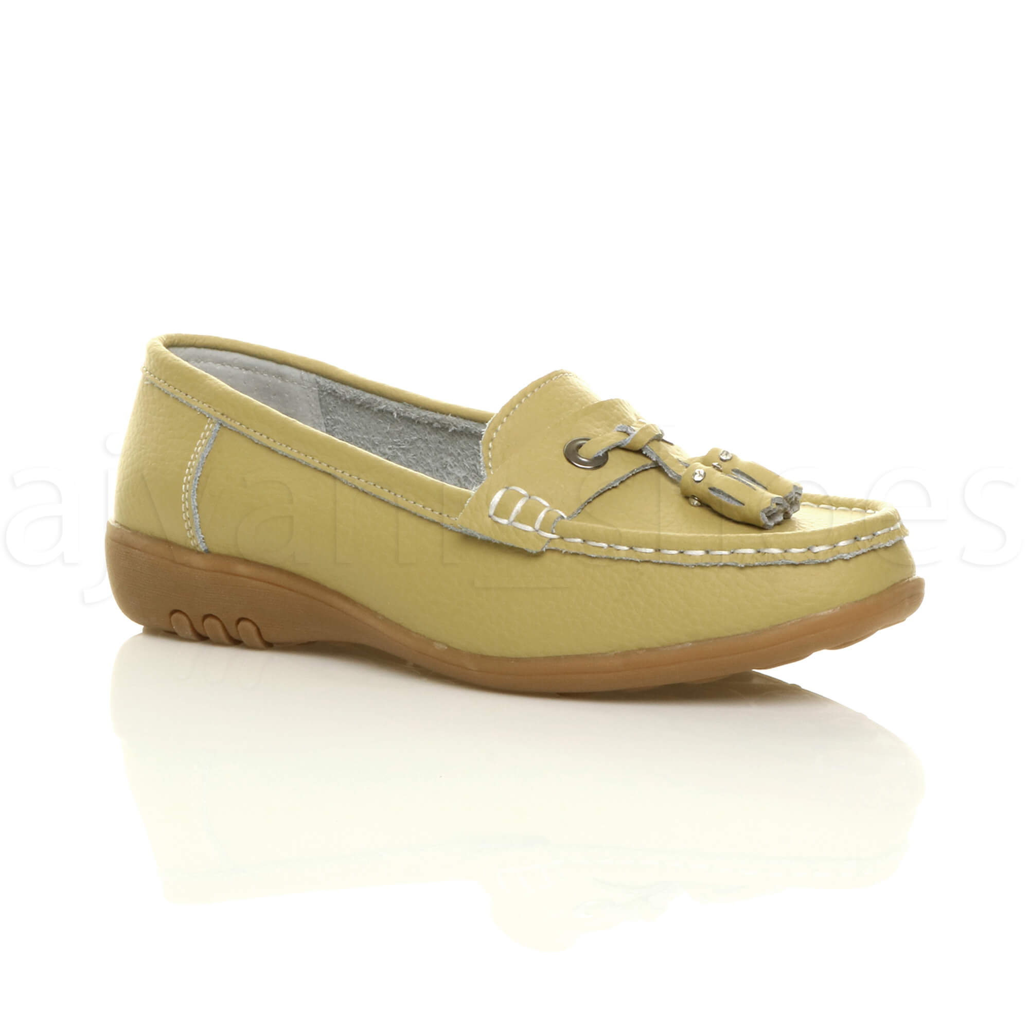 WOMENS-LADIES-LOW-HEEL-WEDGE-LEATHER-TASSEL-LOAFERS-COMFORT-MOCCASINS-SHOES-SIZE thumbnail 34
