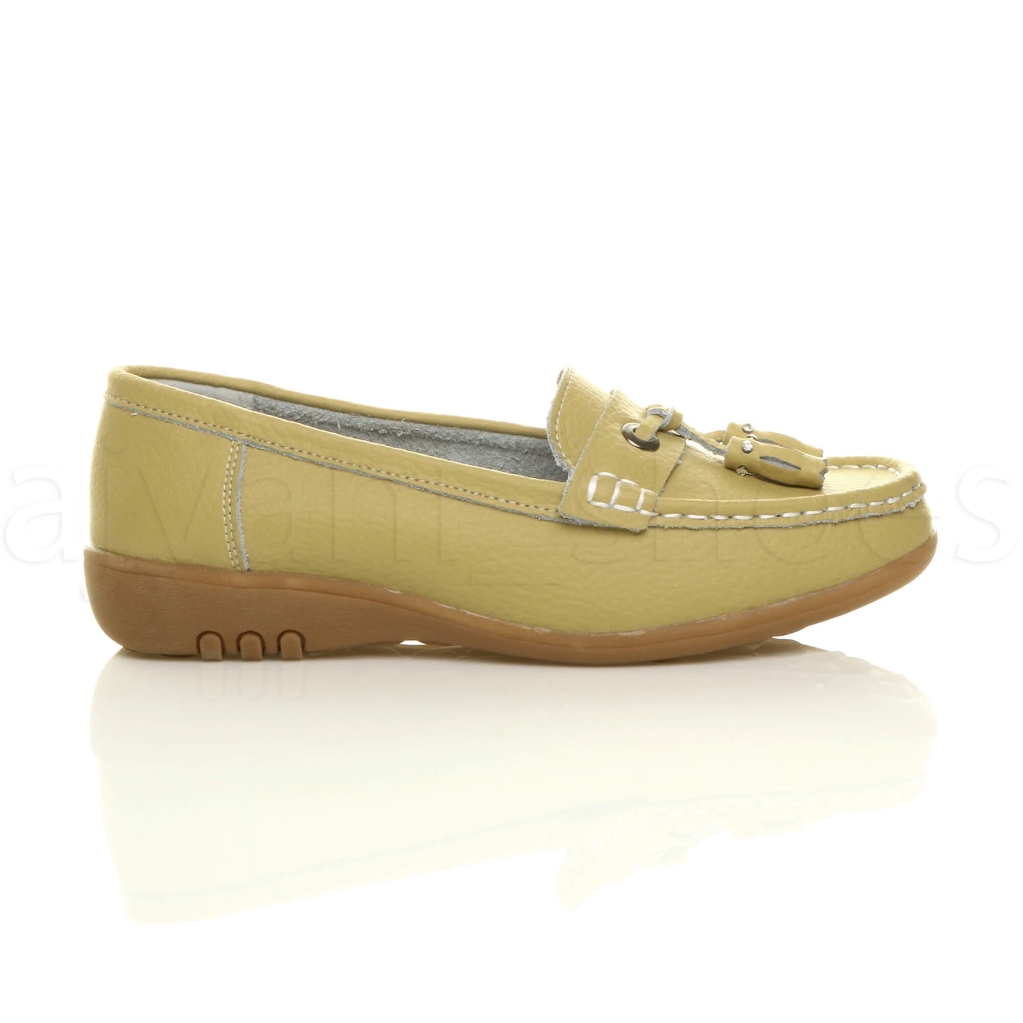 WOMENS-LADIES-LOW-HEEL-WEDGE-LEATHER-TASSEL-LOAFERS-COMFORT-MOCCASINS-SHOES-SIZE thumbnail 35