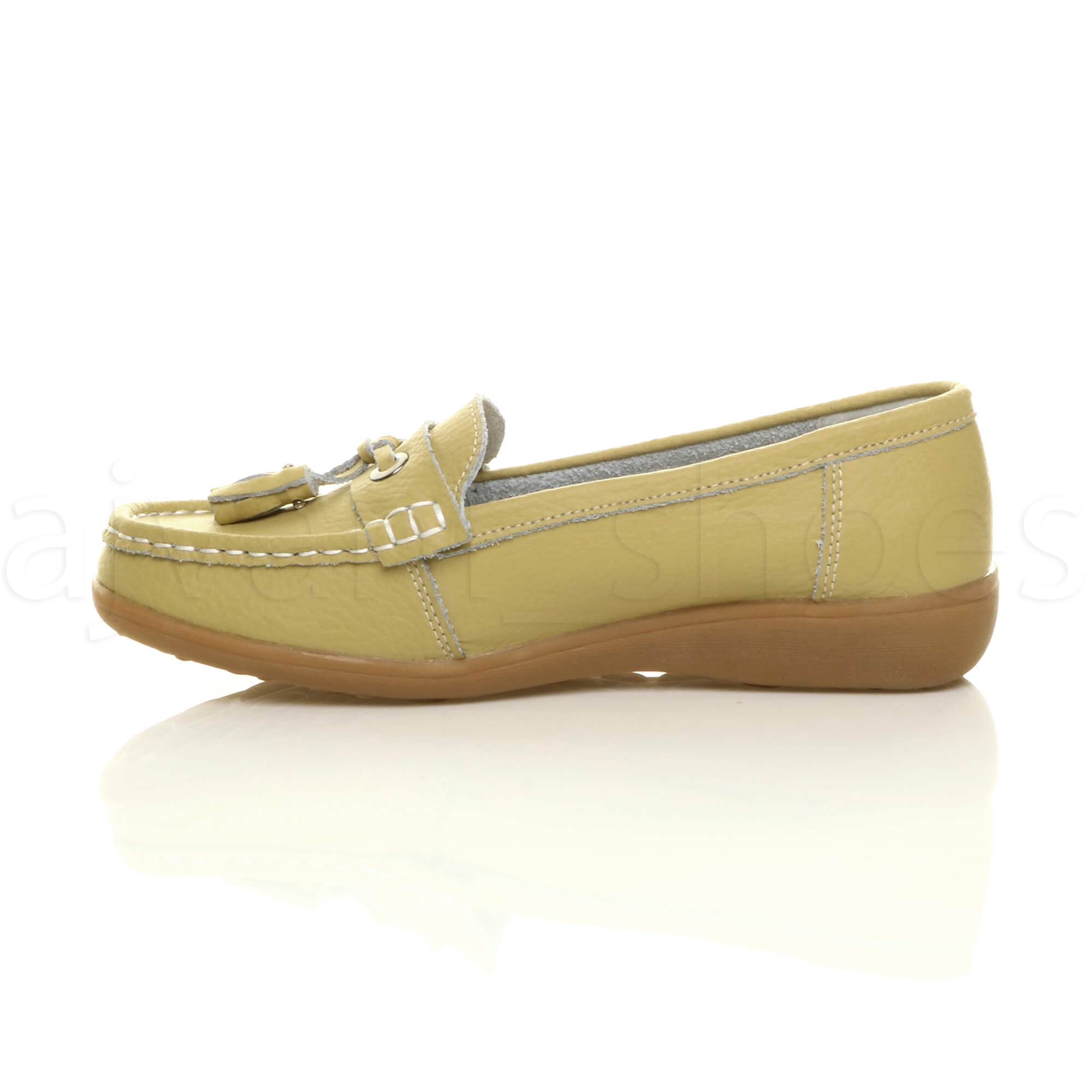 WOMENS-LADIES-LOW-HEEL-WEDGE-LEATHER-TASSEL-LOAFERS-COMFORT-MOCCASINS-SHOES-SIZE thumbnail 36