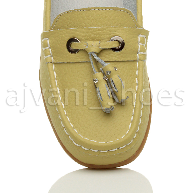WOMENS-LADIES-LOW-HEEL-WEDGE-LEATHER-TASSEL-LOAFERS-COMFORT-MOCCASINS-SHOES-SIZE thumbnail 38