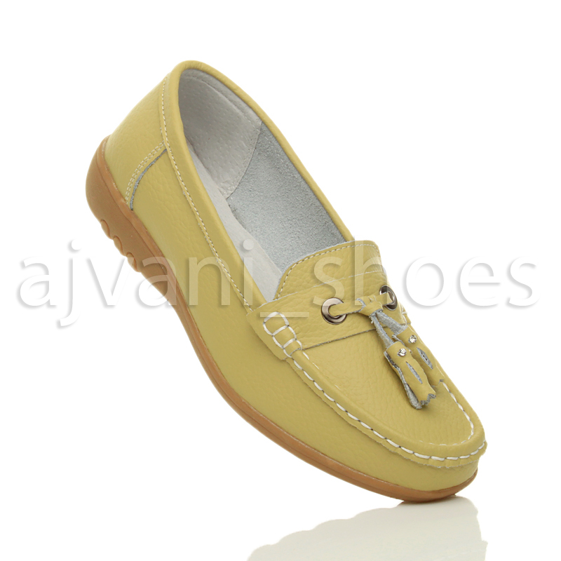 WOMENS-LADIES-LOW-HEEL-WEDGE-LEATHER-TASSEL-LOAFERS-COMFORT-MOCCASINS-SHOES-SIZE thumbnail 40