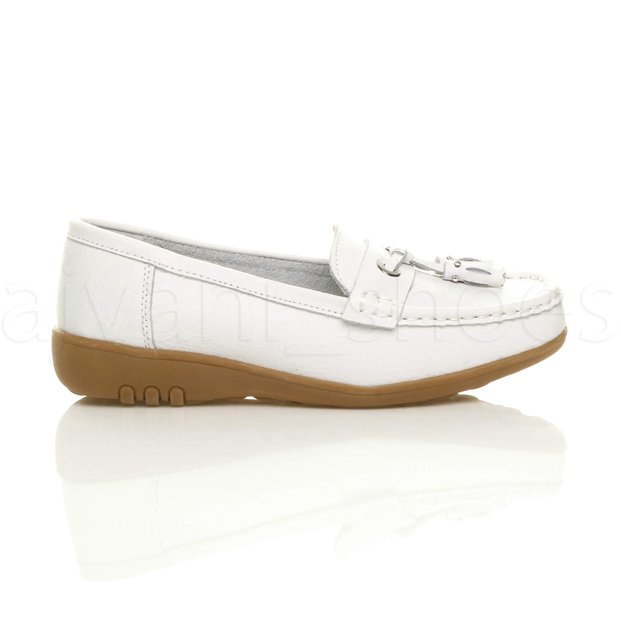 WOMENS-LADIES-LOW-HEEL-WEDGE-LEATHER-TASSEL-LOAFERS-COMFORT-MOCCASINS-SHOES-SIZE thumbnail 43