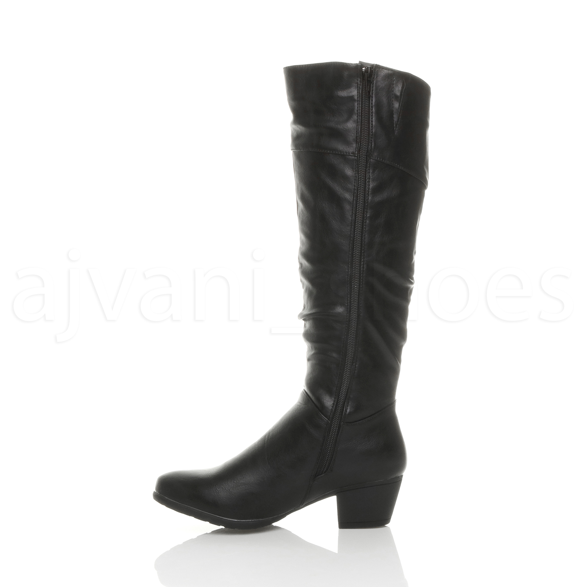 WOMENS-LADIES-CUBAN-MID-HEEL-ZIP-RUCHED-SLIM-CALF-COWBOY-RIDING-KNEE-BOOTS-SIZE