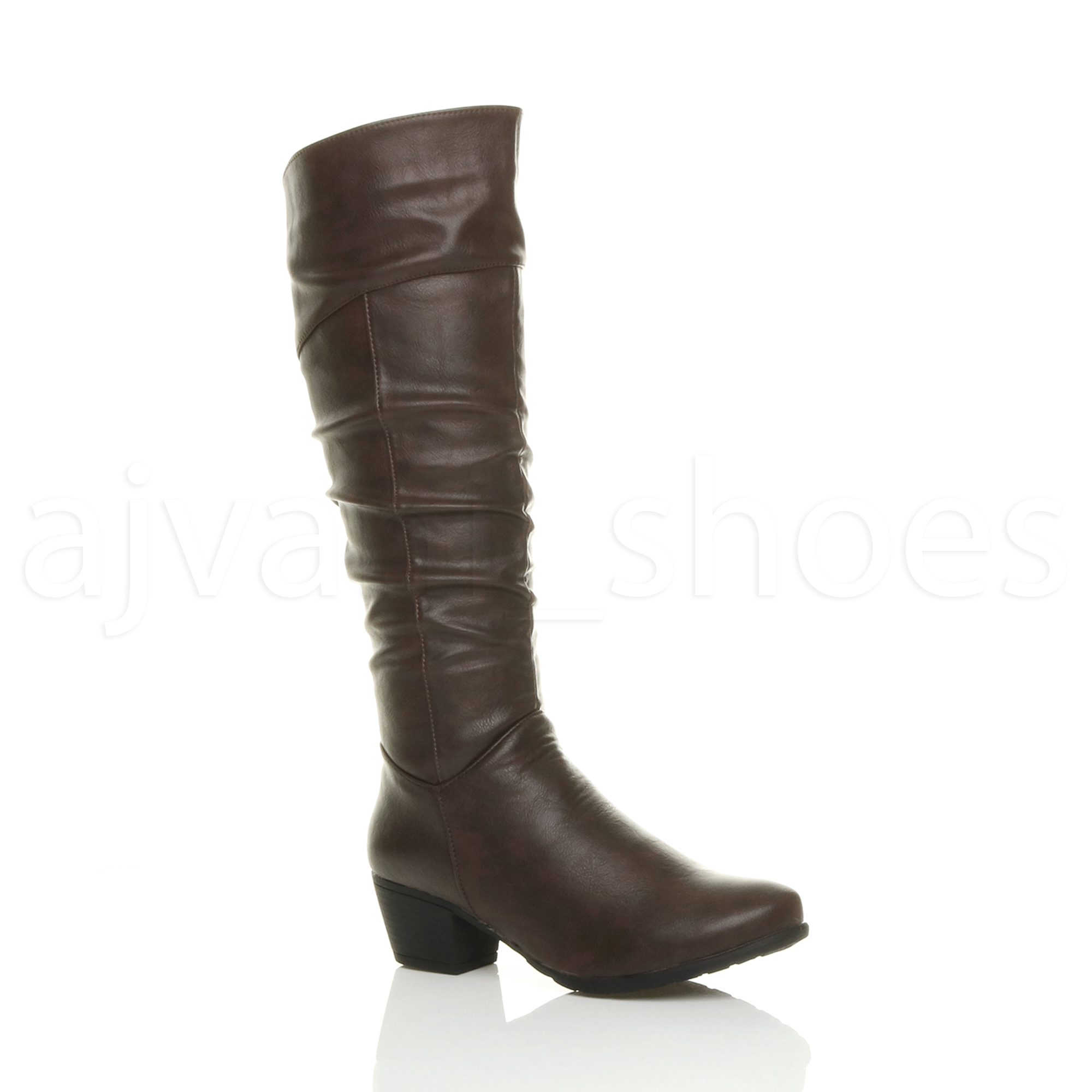 WOMENS-LADIES-CUBAN-MID-HEEL-ZIP-RUCHED-SLIM-CALF-COWBOY-RIDING-KNEE-BOOTS-SIZE