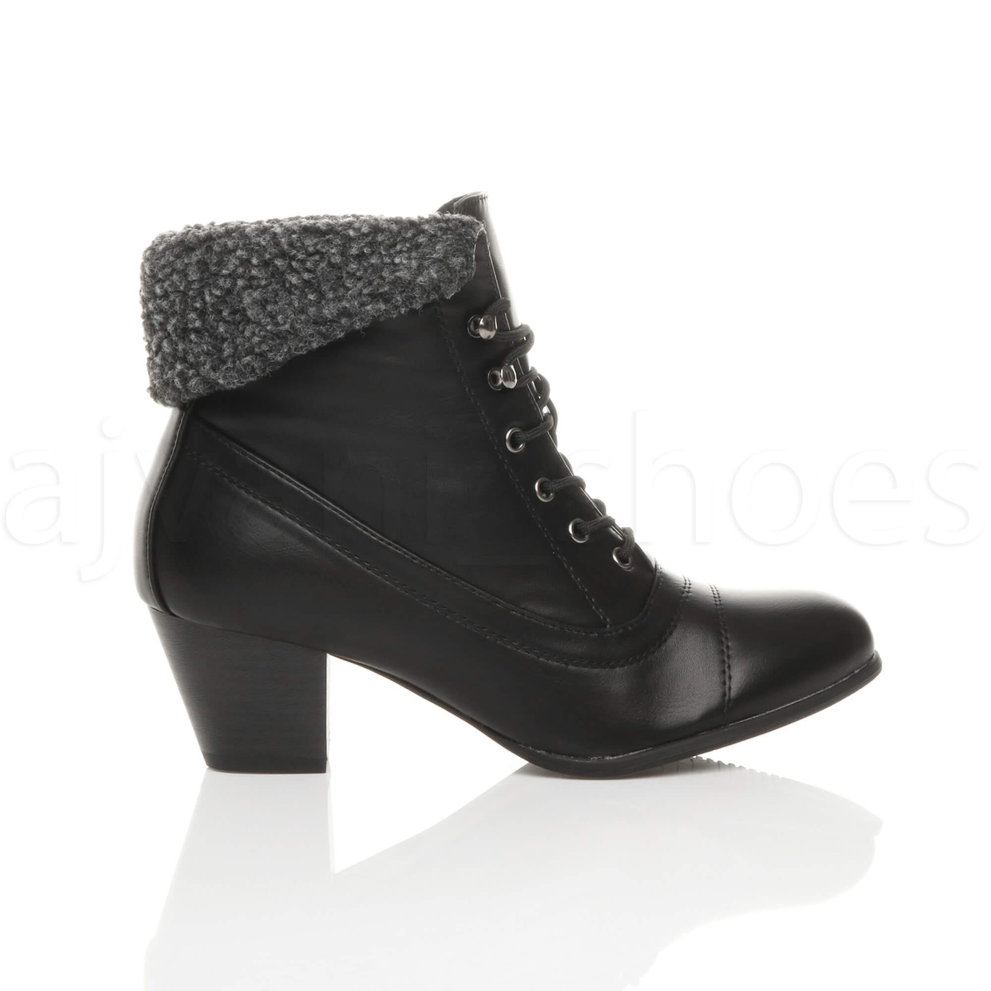 WOMENS-LADIES-MID-HEEL-LACE-UP-VINTAGE-FUR-CUFF-WINTER-PIXIE-ANKLE-BOOTS-SIZE