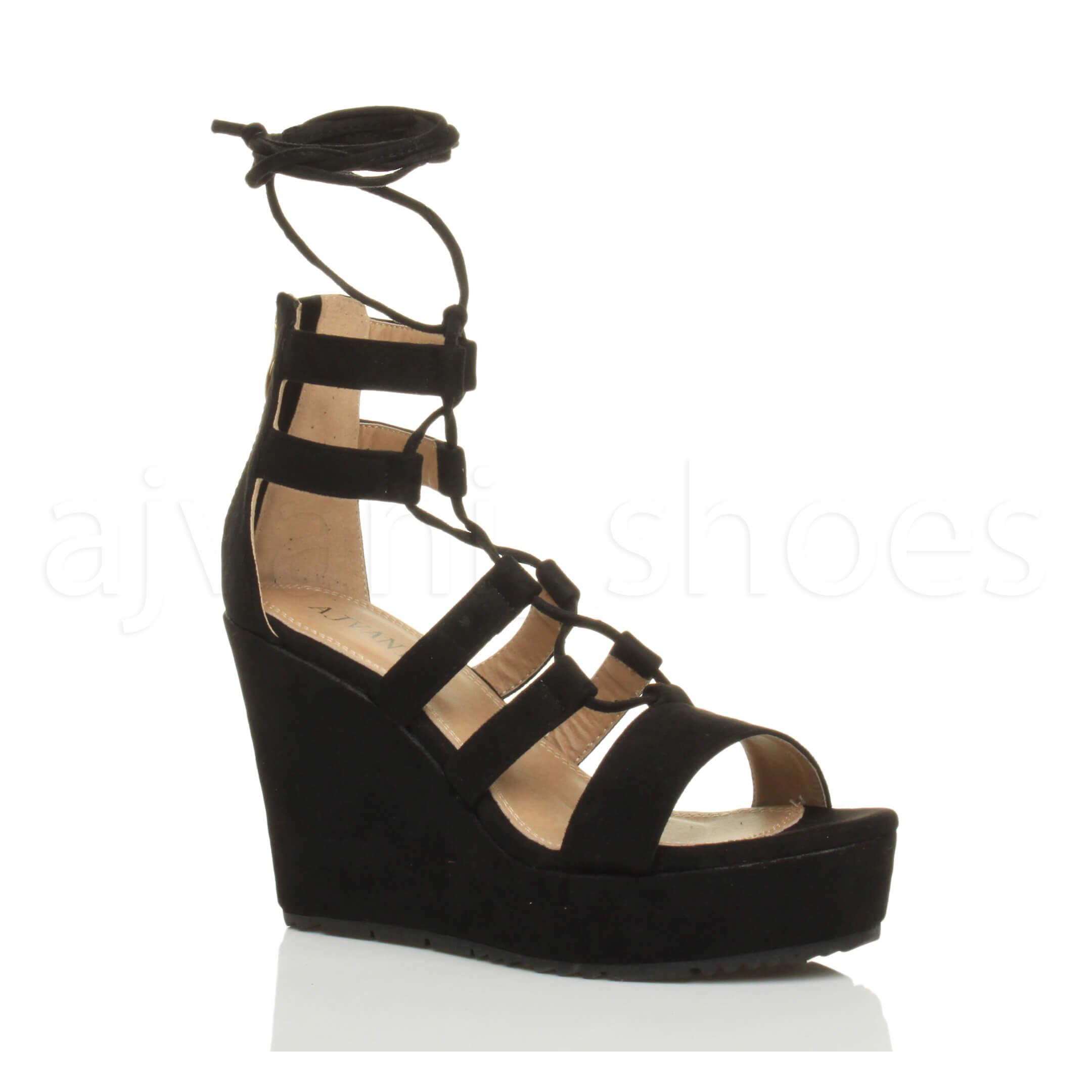 Donna zeppa alta cinturino stringhe gladiatore sandali scarpe numero 3 36 WbAIHnx4
