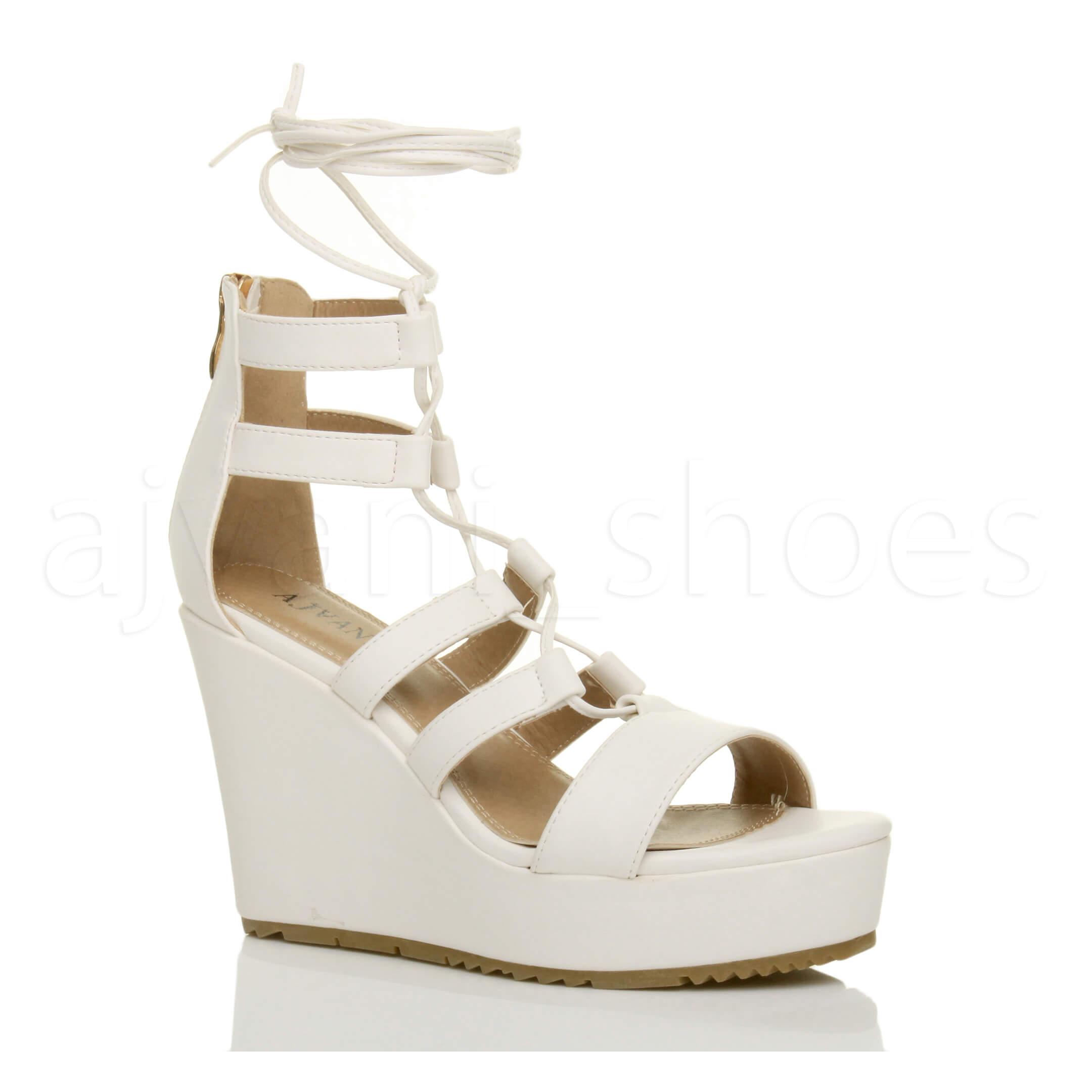 Donna zeppa alta cinturino stringhe gladiatore sandali scarpe numero 3 36 vTUhmH7T4