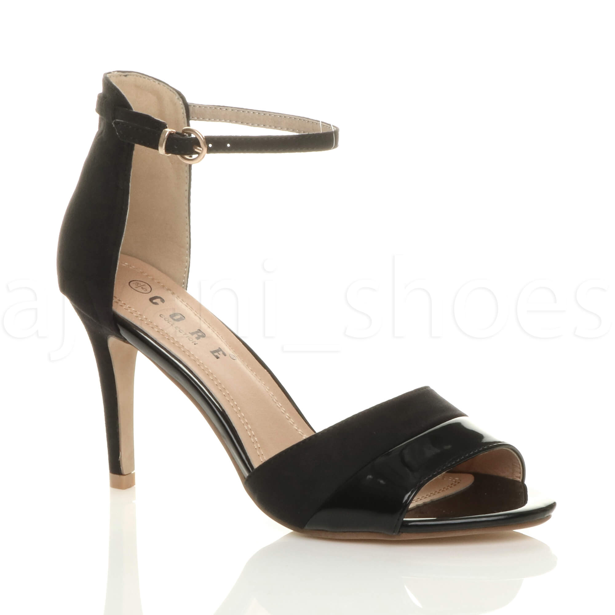 Womens Ladies Mid High Heel Contrast Two Tone Ankle Cuff Sandals ... 5f347b02376b