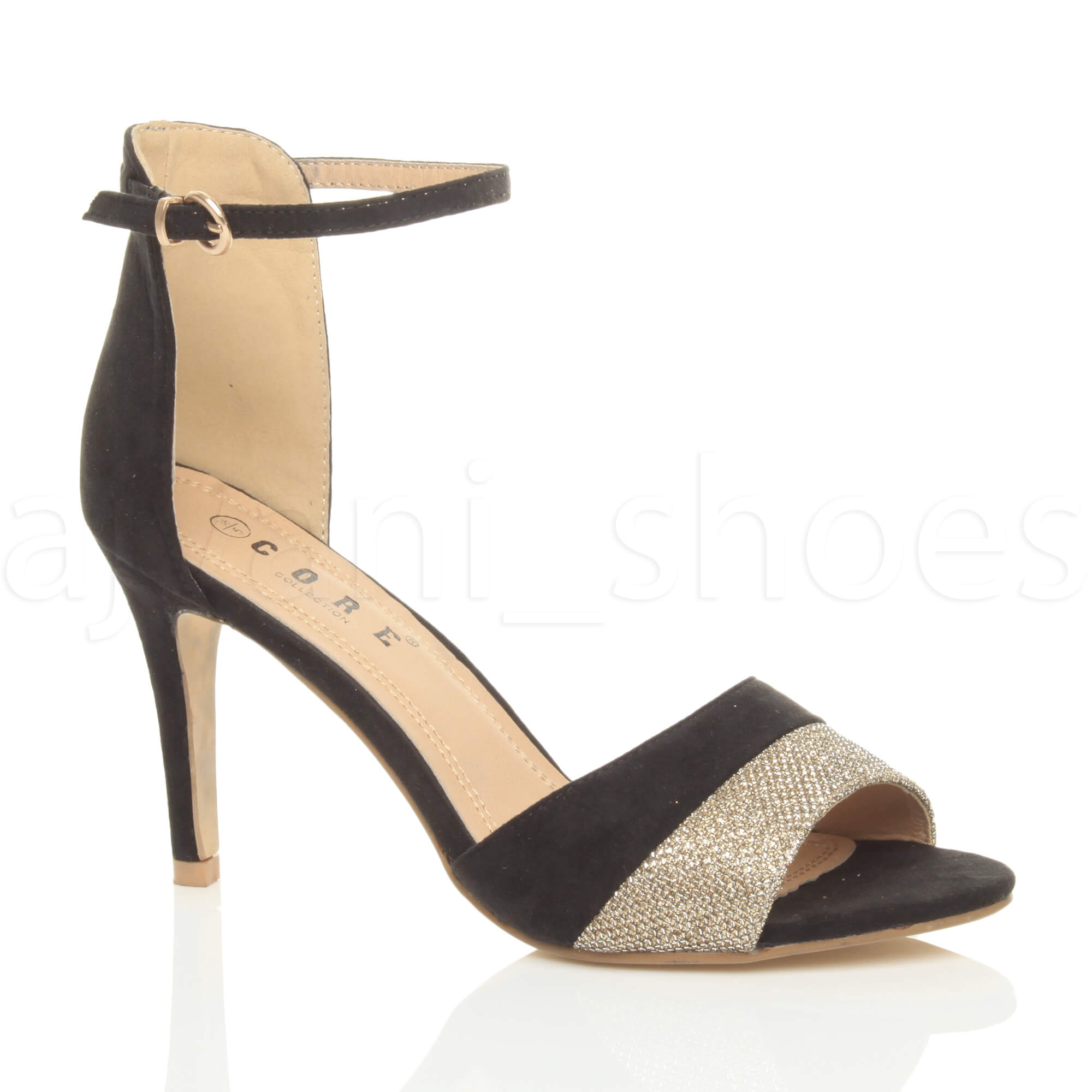7dac53834ab Womens Ladies Mid High Heel Contrast Two Tone Ankle Cuff Sandals ...