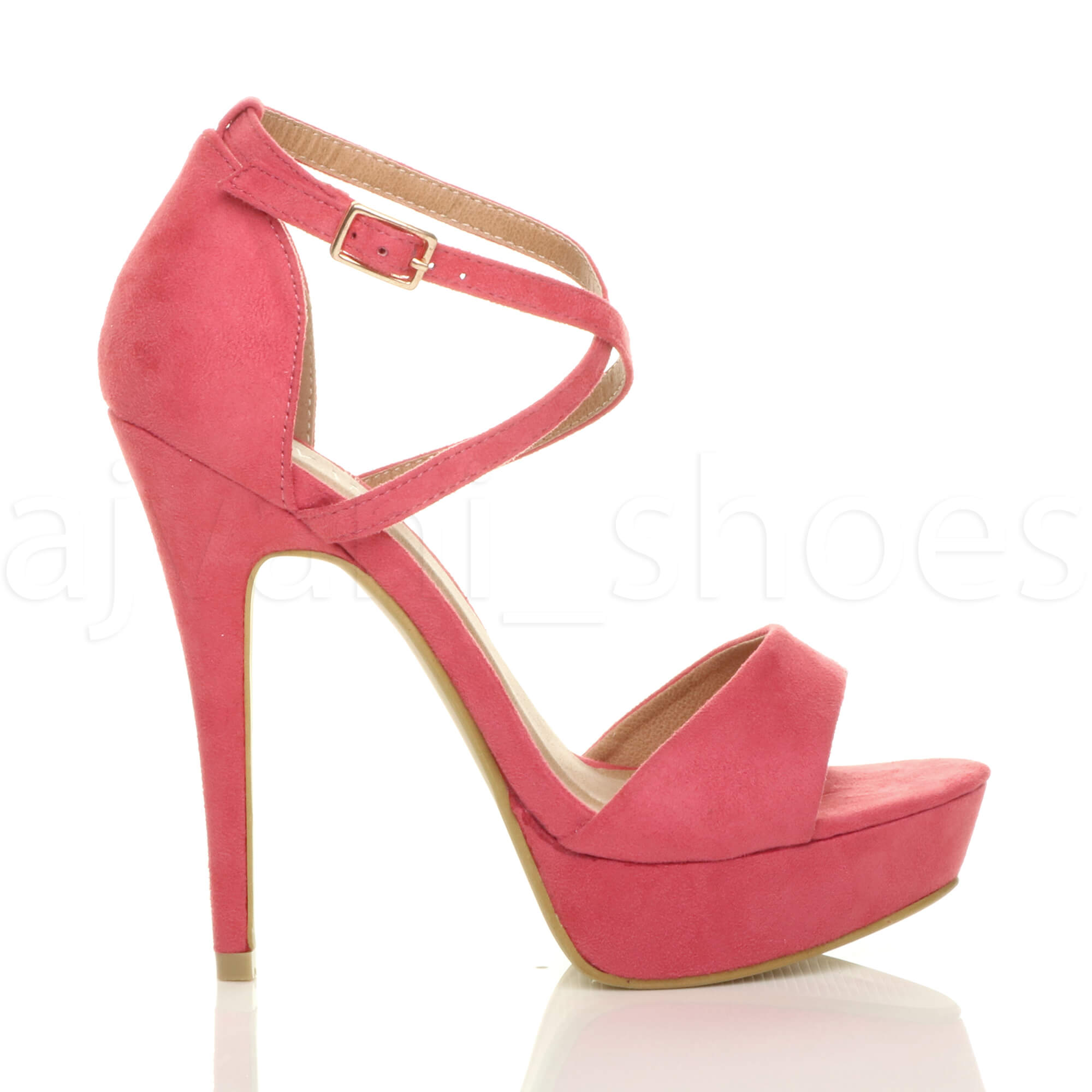 Mujer-Damas-Tacon-Alto-Plataforma-Peep-Toe-Cruz-Sobre-con-Tiras-Sandalias-Zapatos-Talla