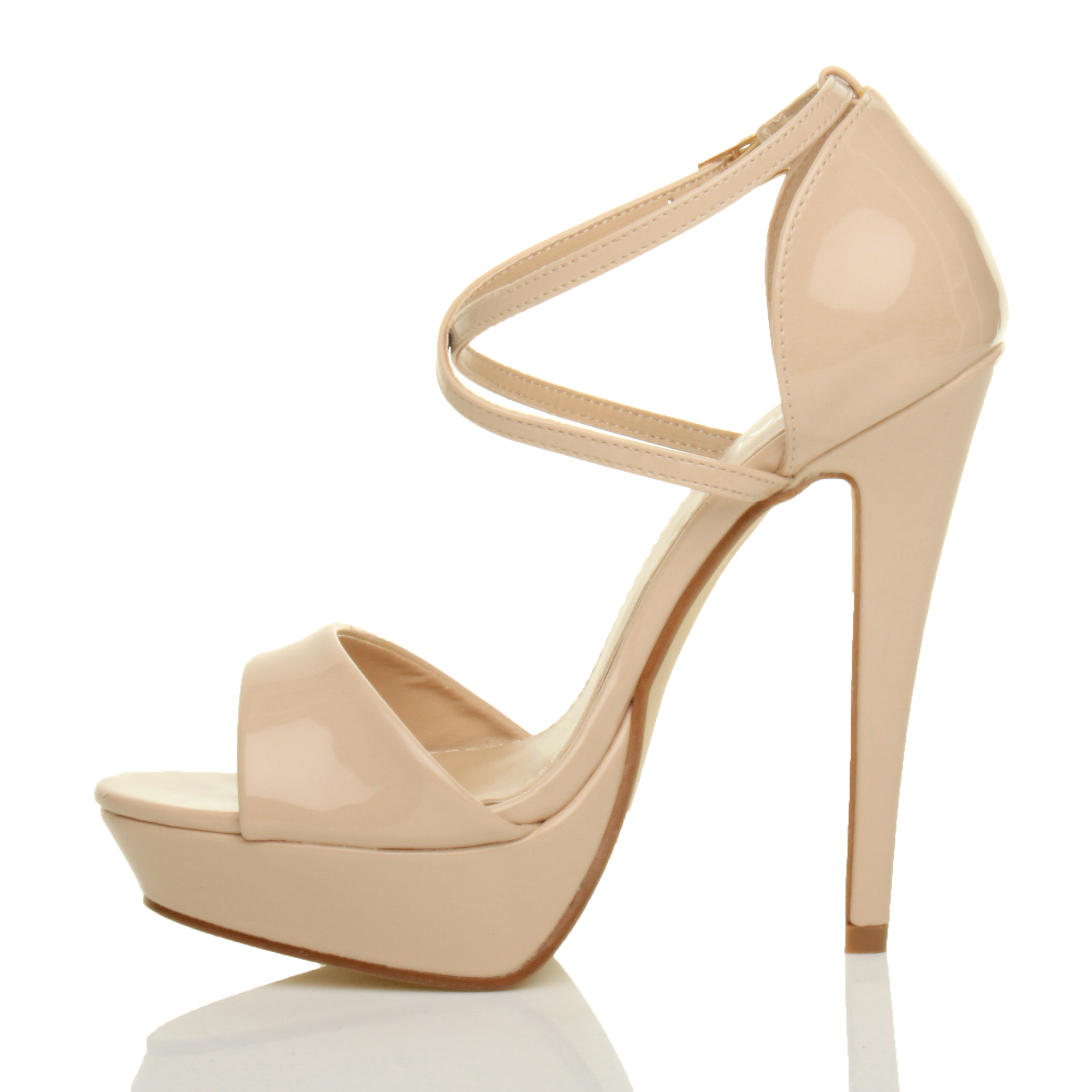 WOMENS-LADIES-PLATFORM-HIGH-HEEL-PEEP-TOE-CROSS-OVER-STRAPPY-SANDALS-SHOES-SIZE thumbnail 66