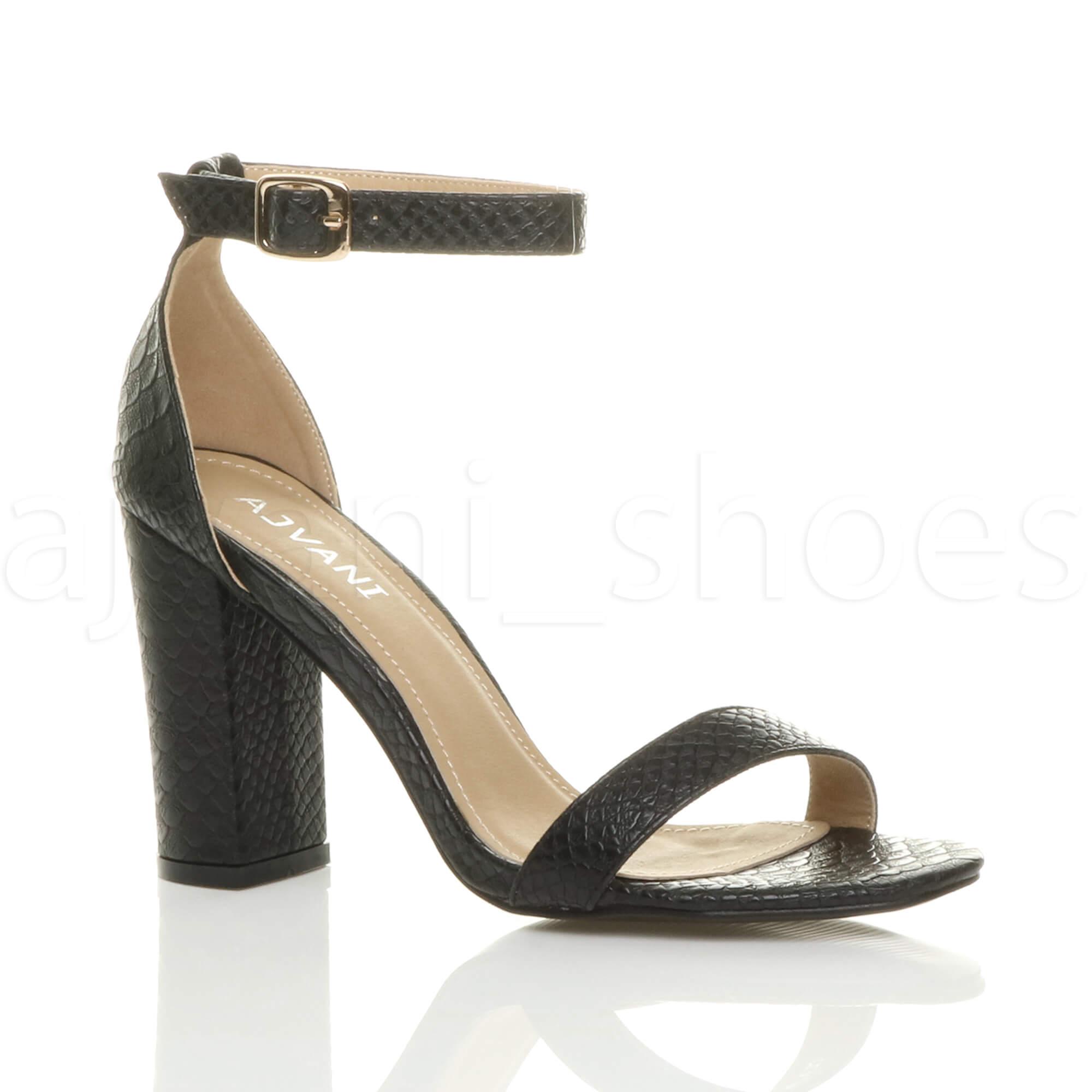 Donna-tacco-alto-blocco-fibbia-scarpe-punta-aperta-