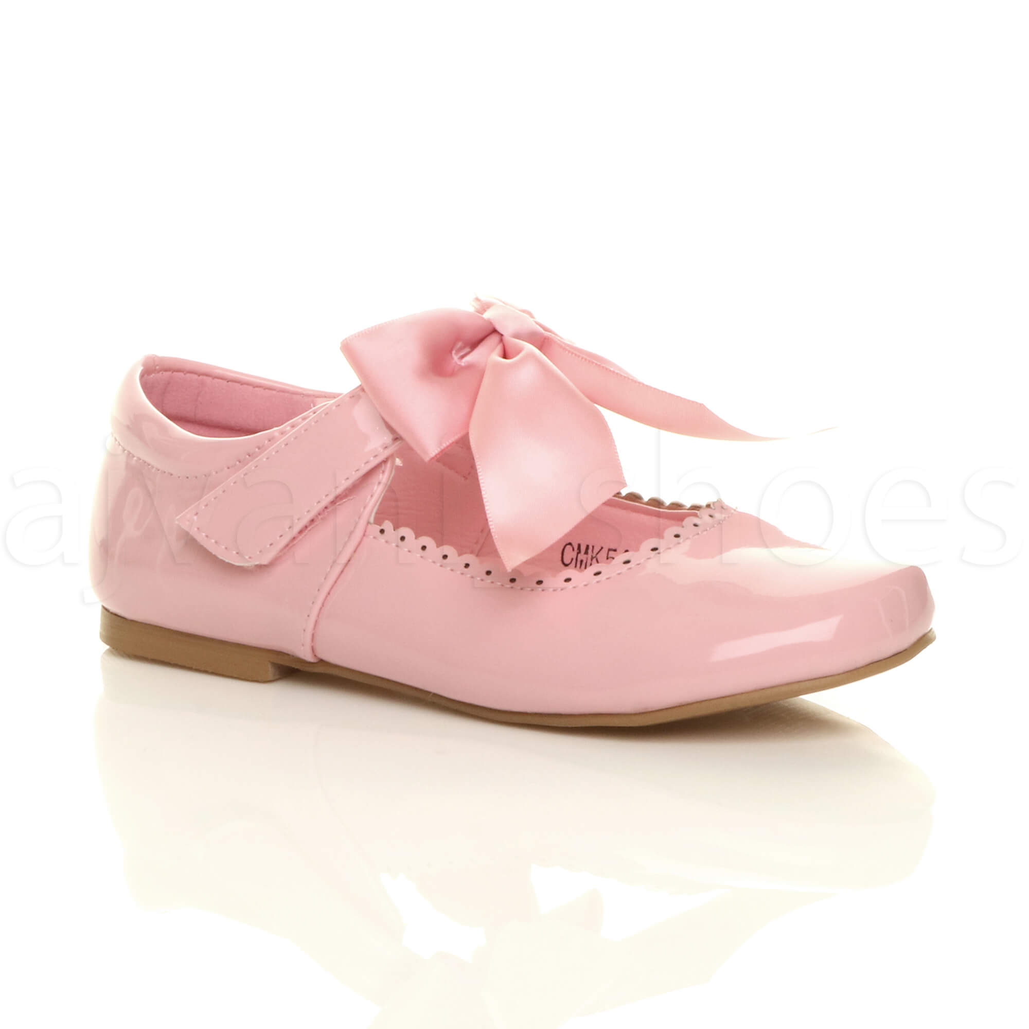 GIRLS-CHILDRENS-KIDS-RIBBON-BOW-SCALLOPED-BRIDESMAID-PARTY-MARY-JANE-SHOES-SIZE