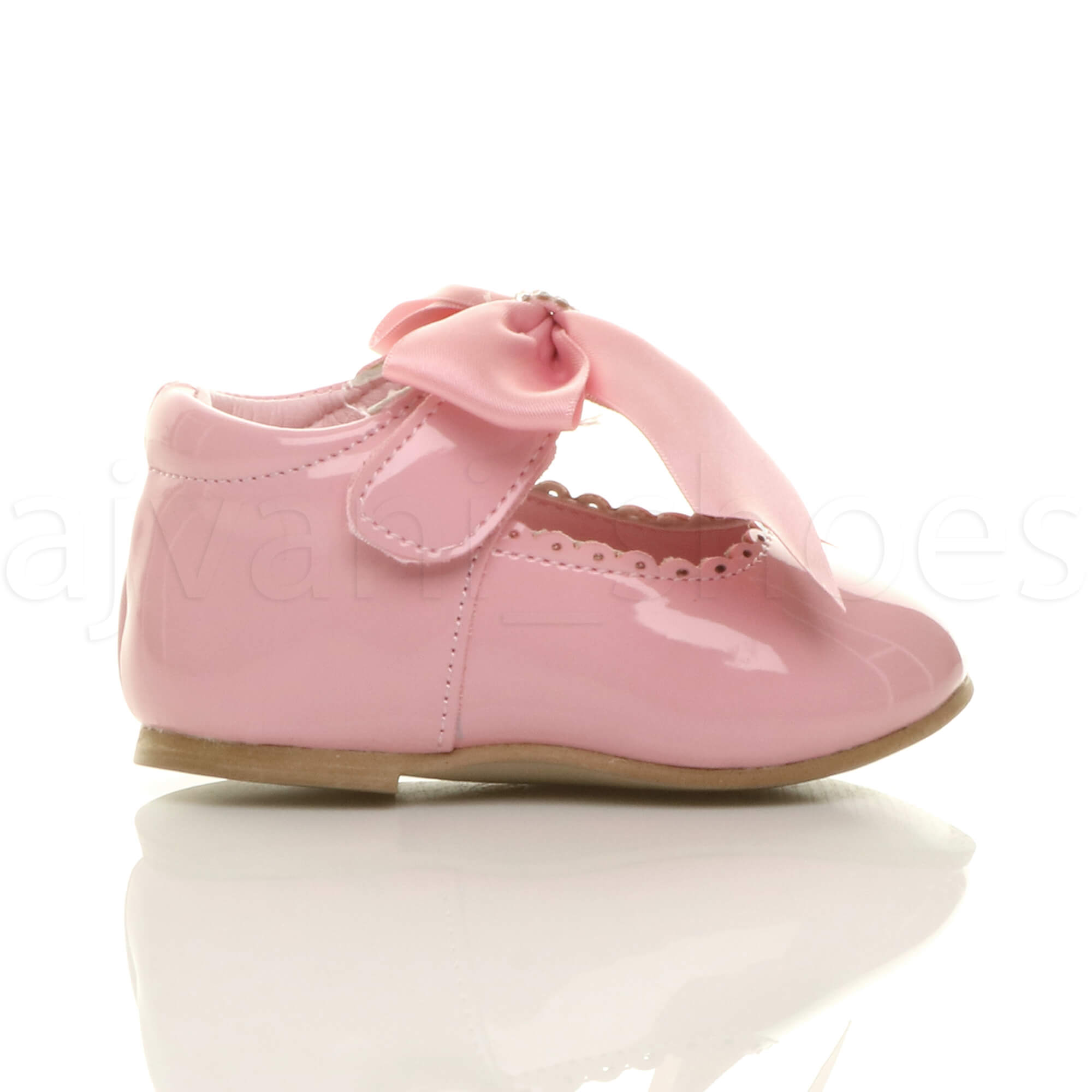 GIRLS-INFANTS-CHILDRENS-RIBBON-BOW-SCALLOPED-BRIDESMAID-PARTY-MARY-JANE-SHOES