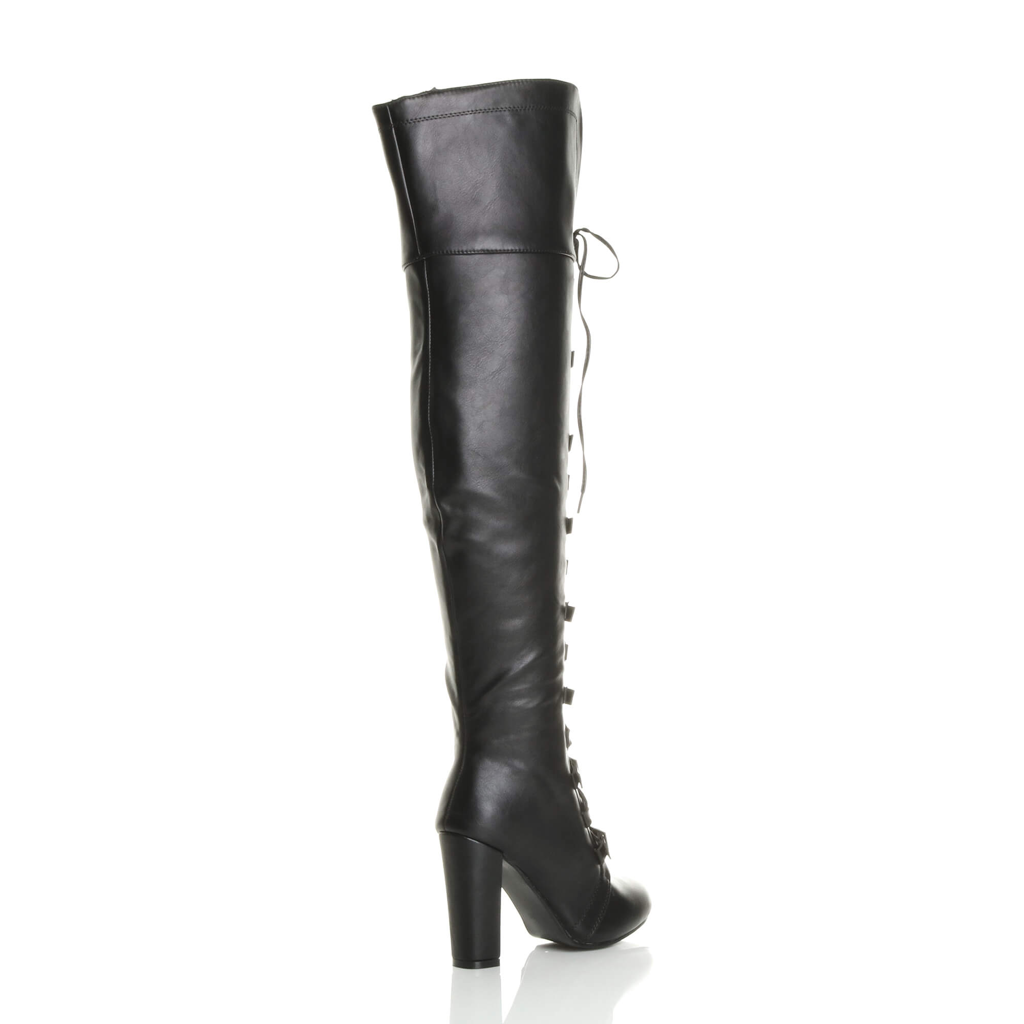 WOMENS-LADIES-HIGH-BLOCK-HEEL-LACE-UP-BUCKLE-PIRATE-OVER-KNEE-THIGH-BOOTS-SIZE