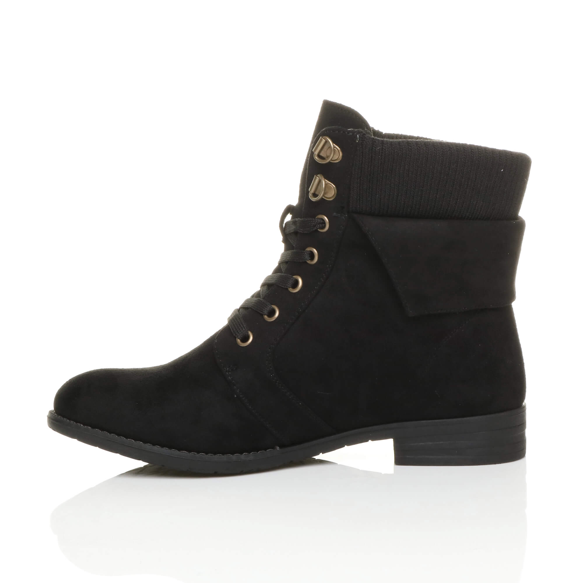 WOMENS-LOW-HEEL-LACE-UP-KNITTED-CUFF-ZIP-BIKER-COMBAT-ARMY-MILITARY-ANKLE-BOOTS