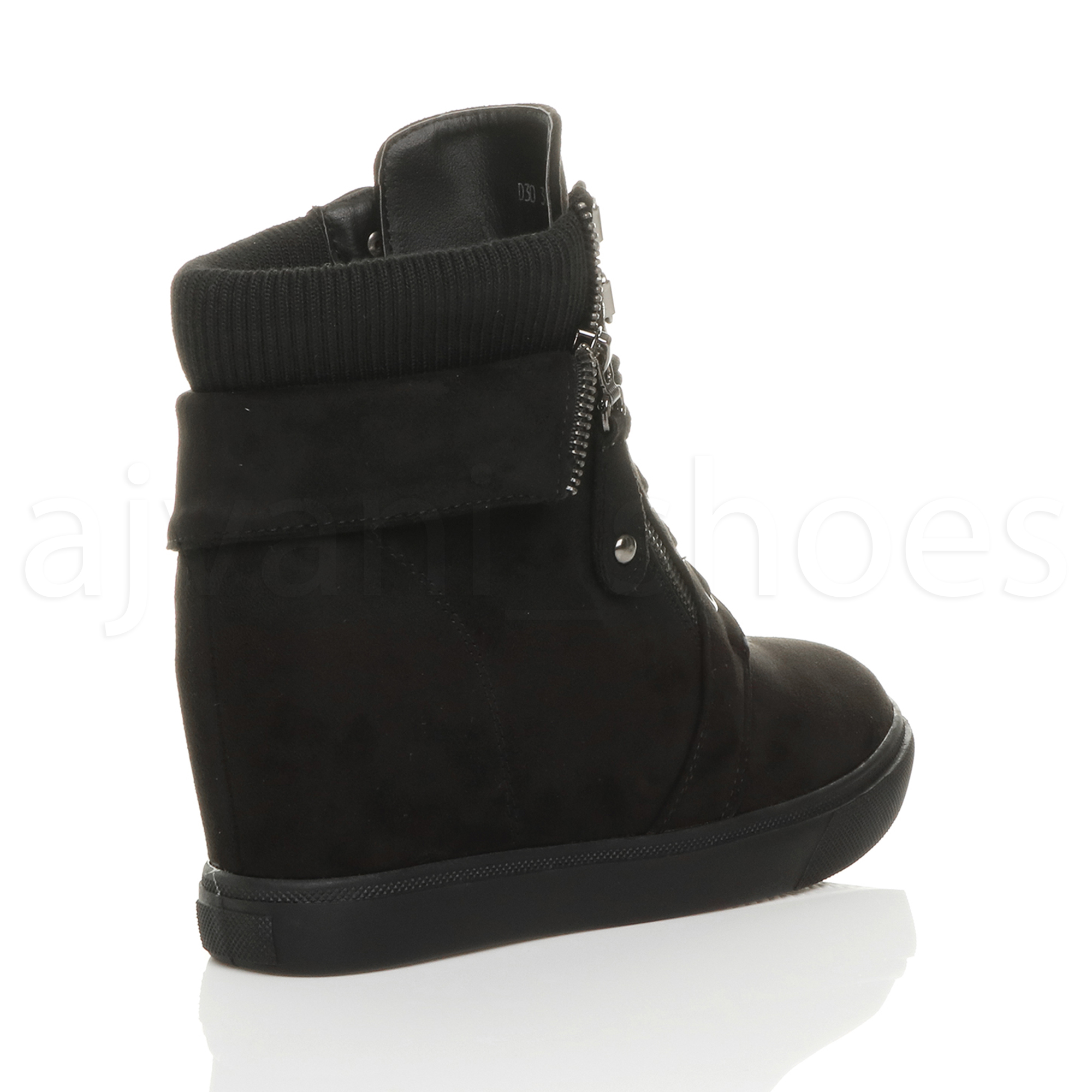 WOMENS-LADIES-MID-CONCEALED-WEDGE-HEEL-KNITTED-COLLAR-ANKLE-BOOTS-TRAINERS-SIZE