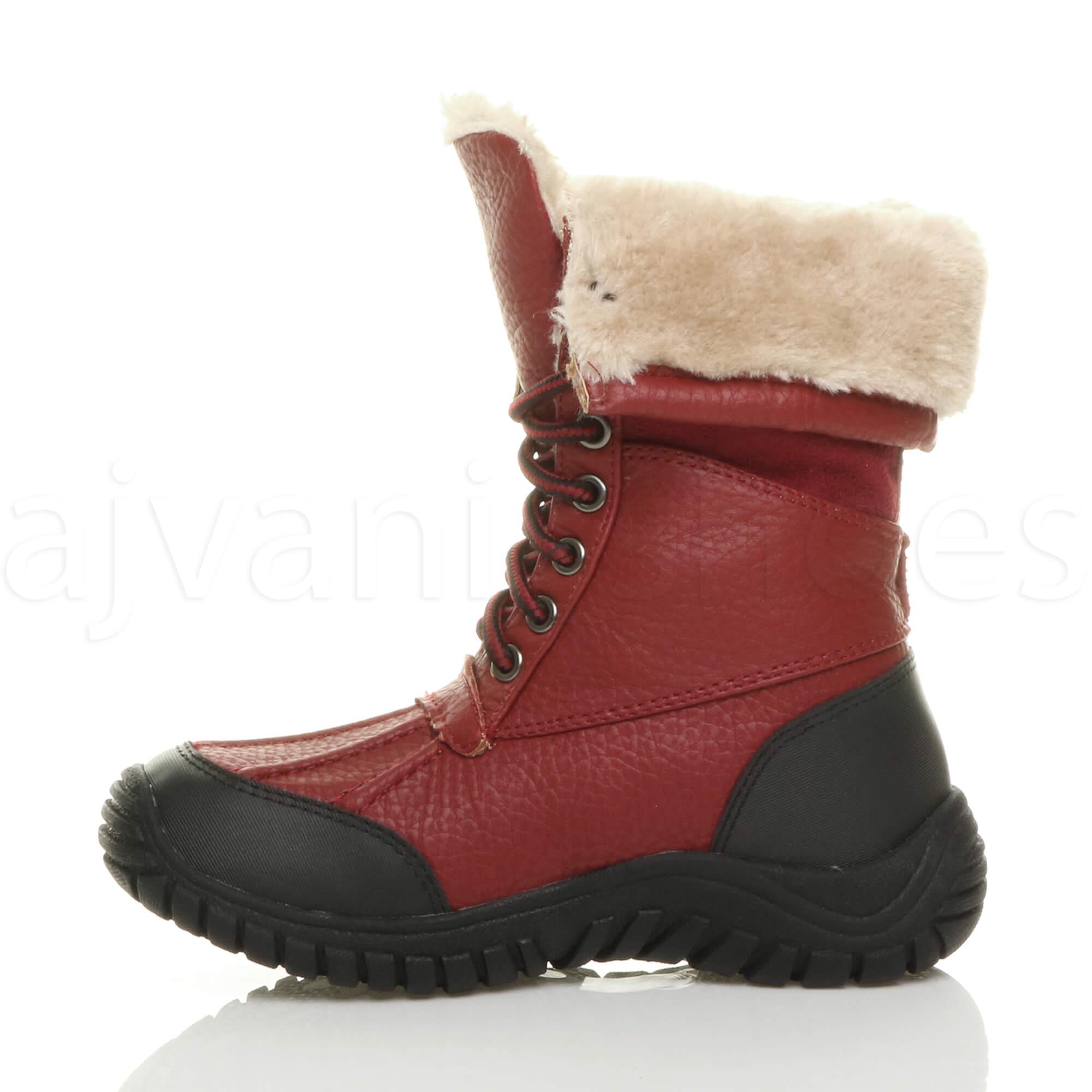 Filles-enfants-lacets-doublure-en-fourrure-mollet-neige-bottes-d-039-hiver-pointure