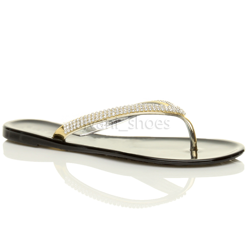 b1b107858504 WOMENS LADIES FLAT GOLD DIAMANTE JELLY RUBBER SUMMER FLIP FLOPS SANDALS SIZE