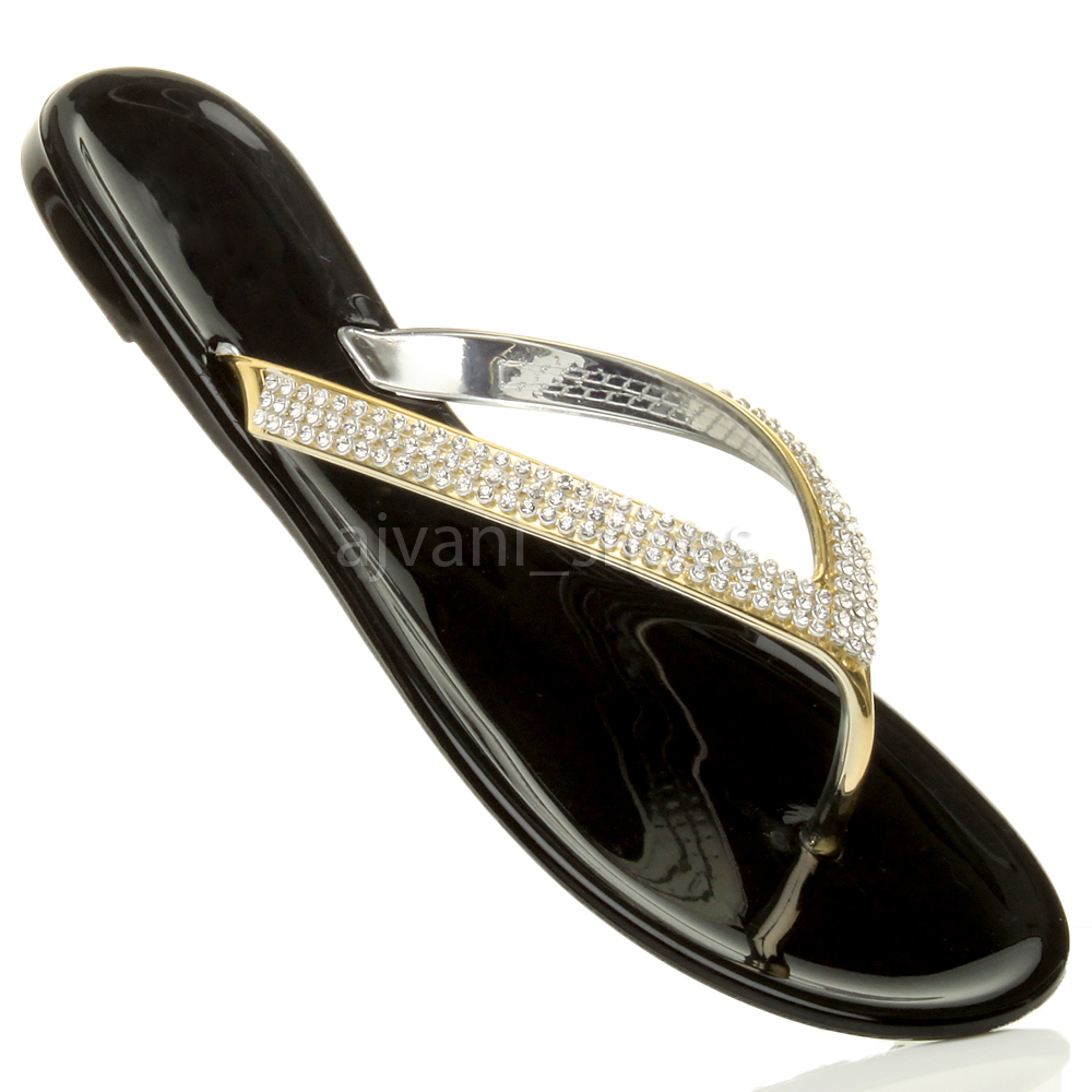 WOMENS LADIES FLAT GOLD DIAMANTE JELLY RUBBER SUMMER FLIP ...