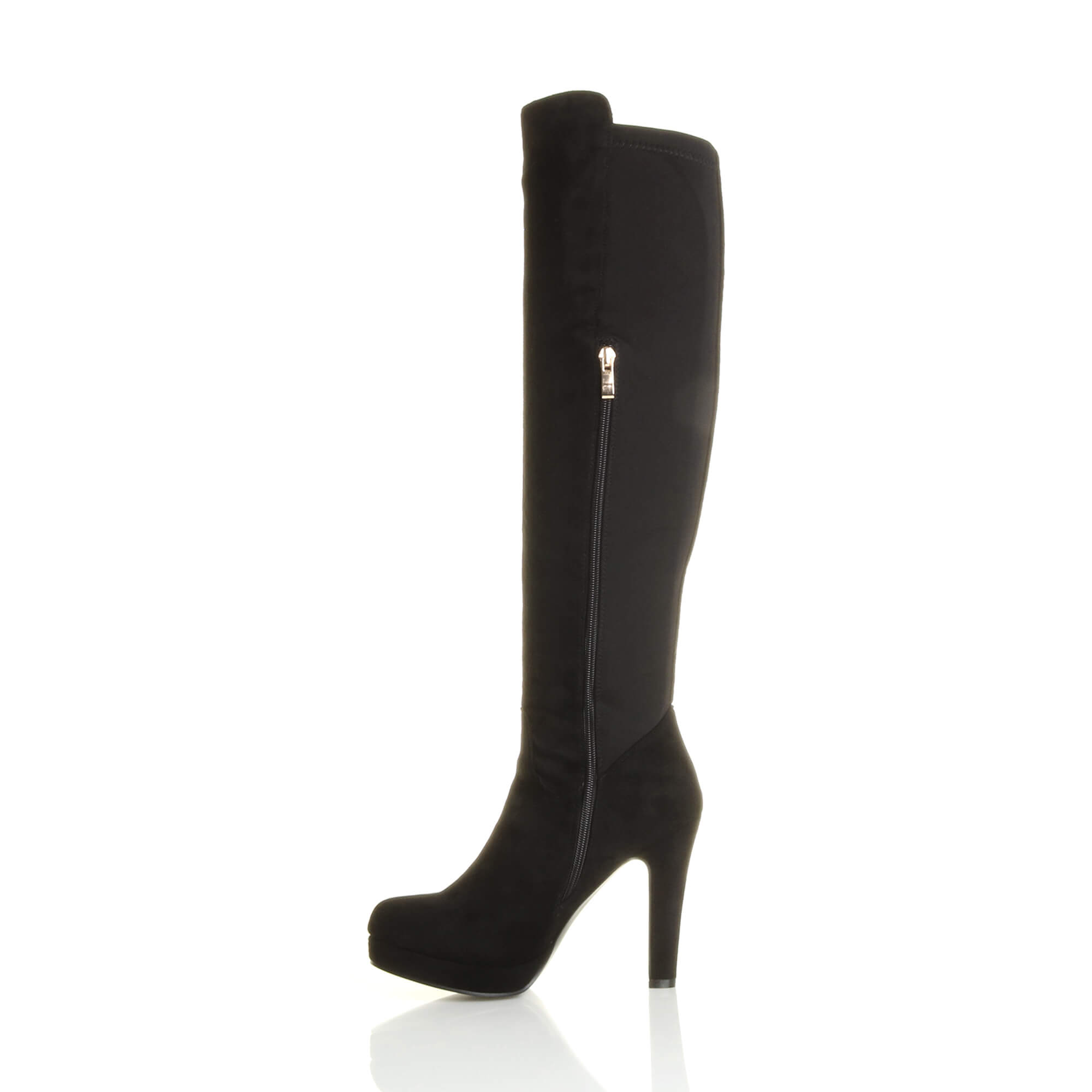 WOMENS-LADIES-HIGH-HEEL-PLATFORM-GOLD-ZIP-STRETCH-RIDING-OVER-KNEE-BOOTS-SIZE