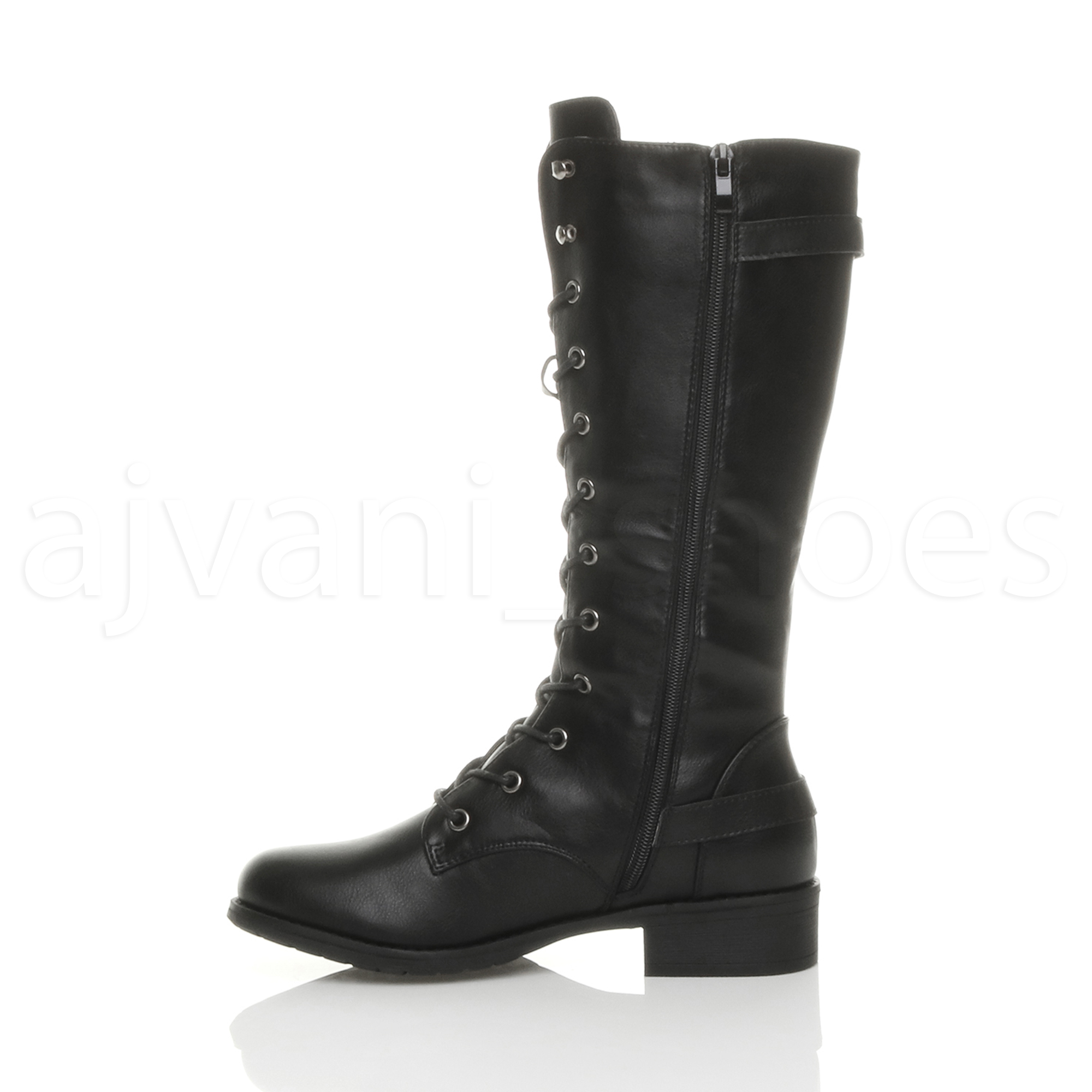 WOMENS-LADIES-LOW-HEEL-LACE-UP-ZIP-BIKER-ARMY-COMBAT-MILITARY-CALF-BOOTS-SIZE