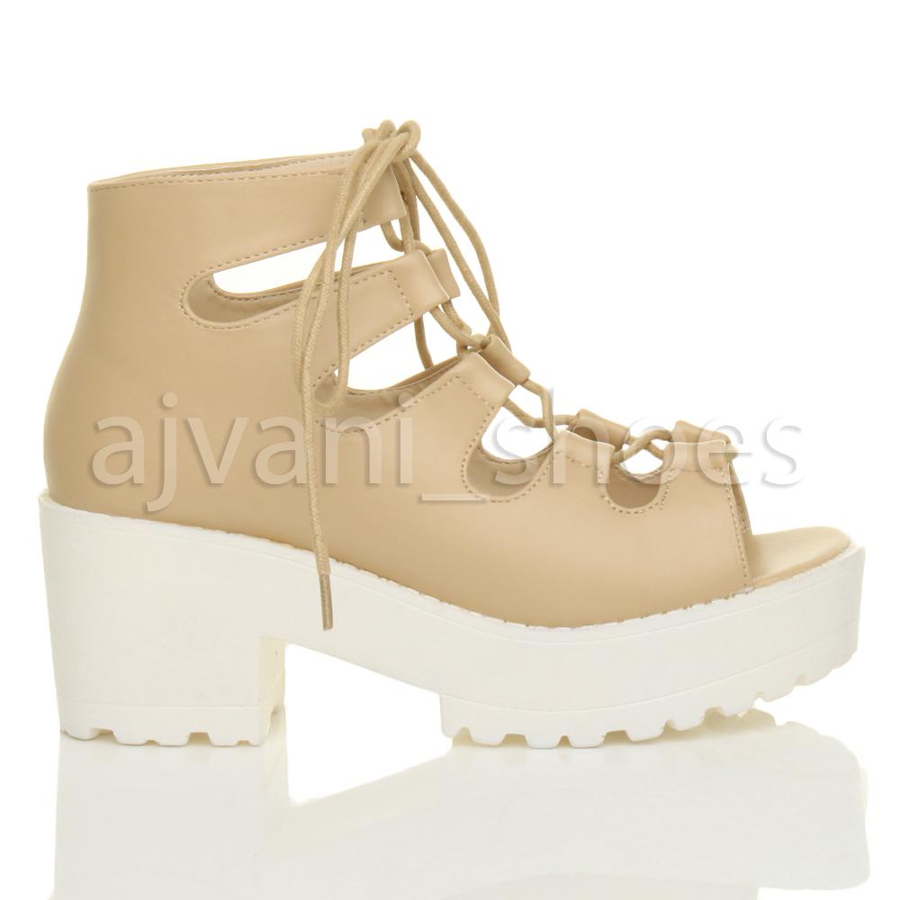 Femmes mi talon lacent peep toe semelle compensées sandales bottines pointure 3 36 OGJLVmHhh4