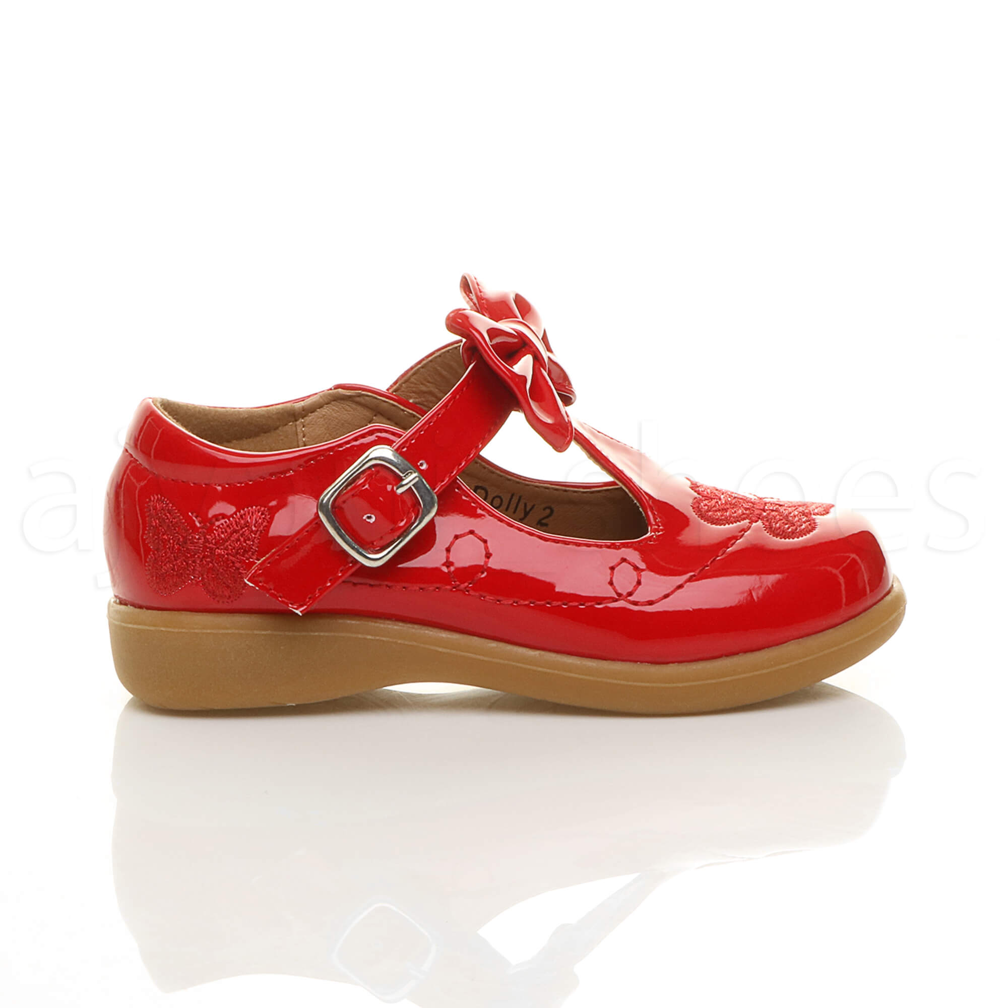 GIRLS-KIDS-CHILDRENS-FLAT-T-BAR-BOW-MARY-JANE-BUTTERFLY-SMART-SCHOOL-SHOES-SIZE