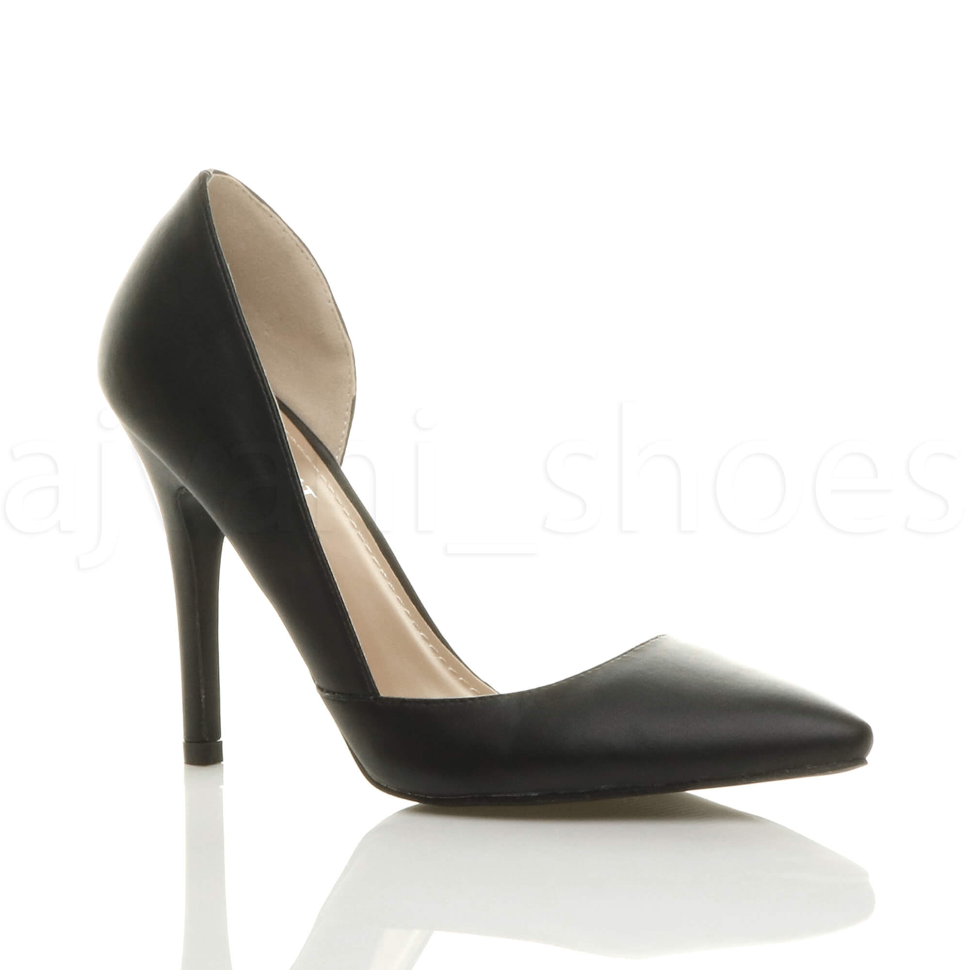 Damen Hoher Absatz Stiletto Spitz Ausschneiden D'orsay Pumps Schuh Größe 3 36 jRG50