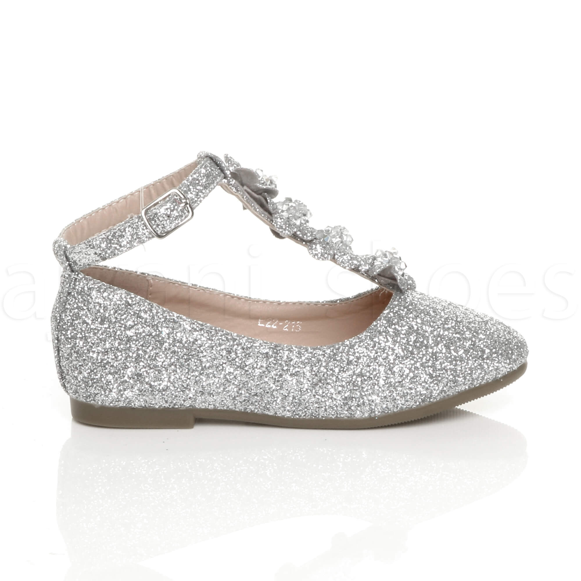 GIRLS-KIDS-CHILDRENS-FLAT-T-BAR-GLITTER-WEDDING-BRIDESMAID-SHOES-BALLERINAS-SIZE