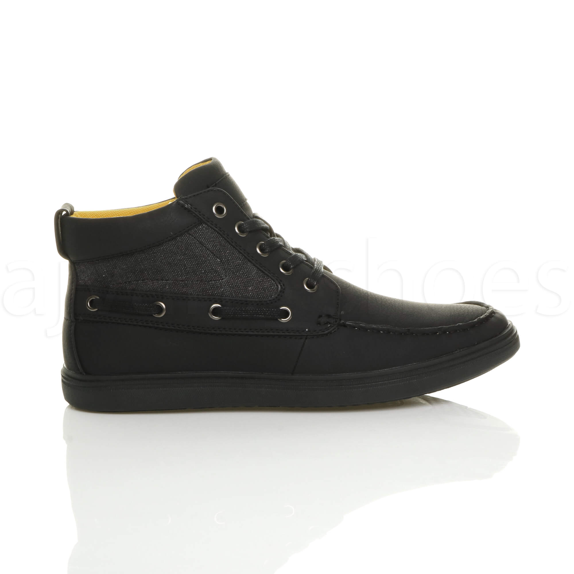 MENS-FLAT-LACE-UP-CASUAL-BOAT-CONTRAST-HI-TOP-TRAINERS-ANKLE-BOOTS-PUMPS-SIZE thumbnail 3