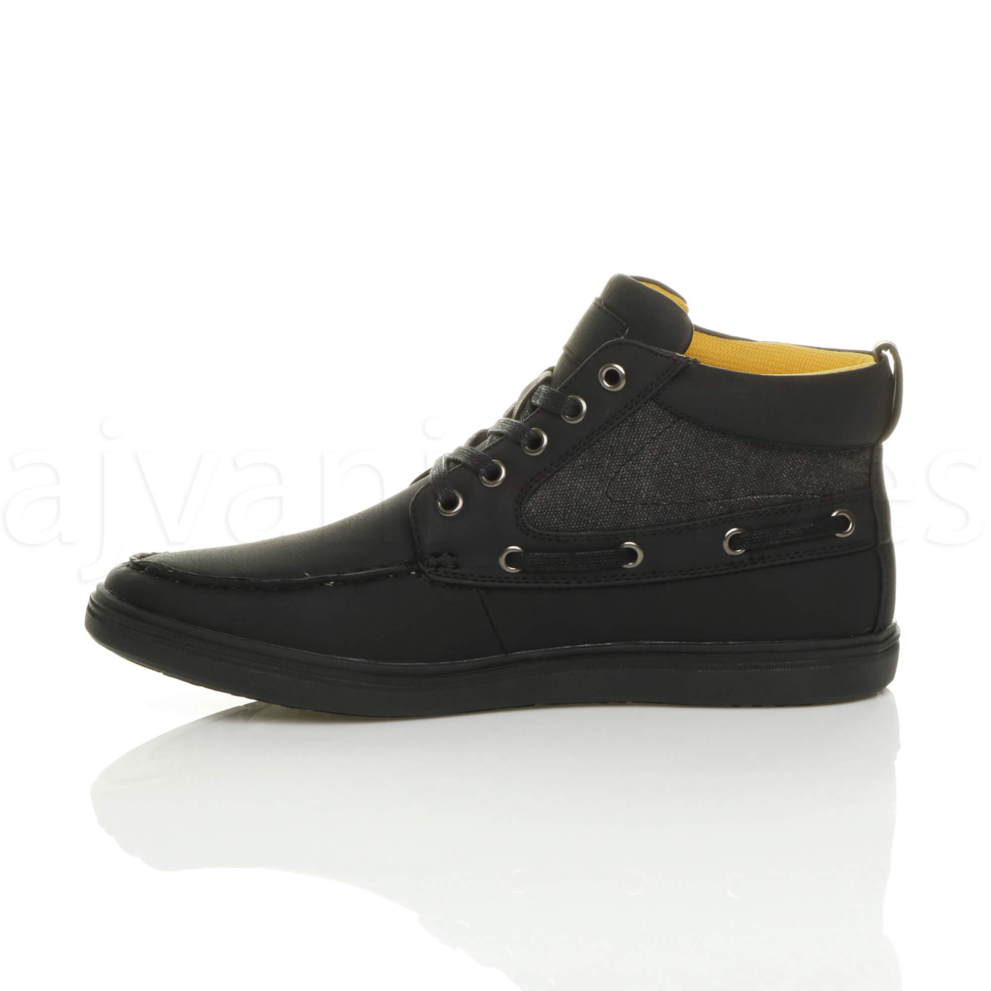 MENS-FLAT-LACE-UP-CASUAL-BOAT-CONTRAST-HI-TOP-TRAINERS-ANKLE-BOOTS-PUMPS-SIZE thumbnail 4