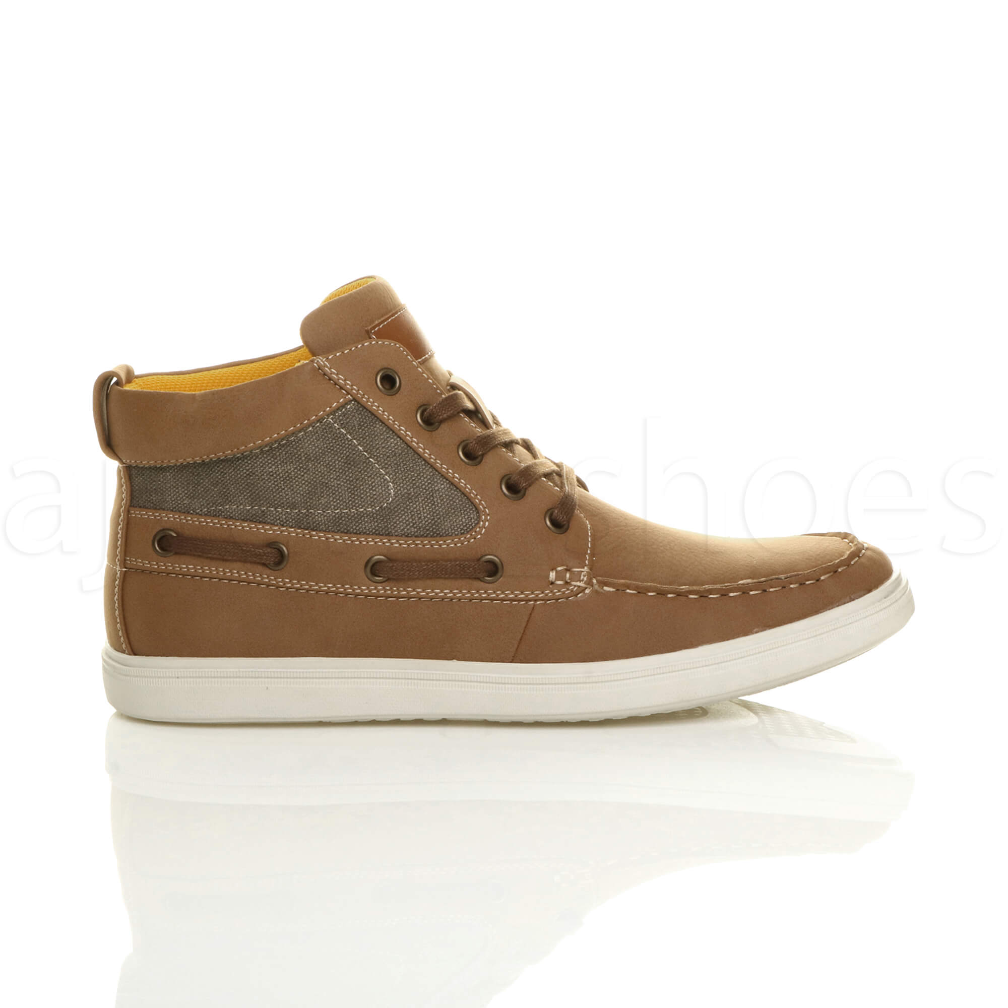 MENS-FLAT-LACE-UP-CASUAL-BOAT-CONTRAST-HI-TOP-TRAINERS-ANKLE-BOOTS-PUMPS-SIZE thumbnail 10