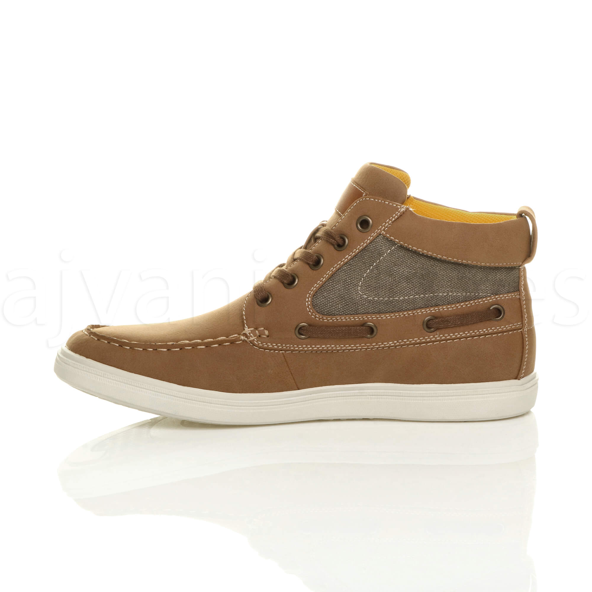 MENS-FLAT-LACE-UP-CASUAL-BOAT-CONTRAST-HI-TOP-TRAINERS-ANKLE-BOOTS-PUMPS-SIZE thumbnail 11
