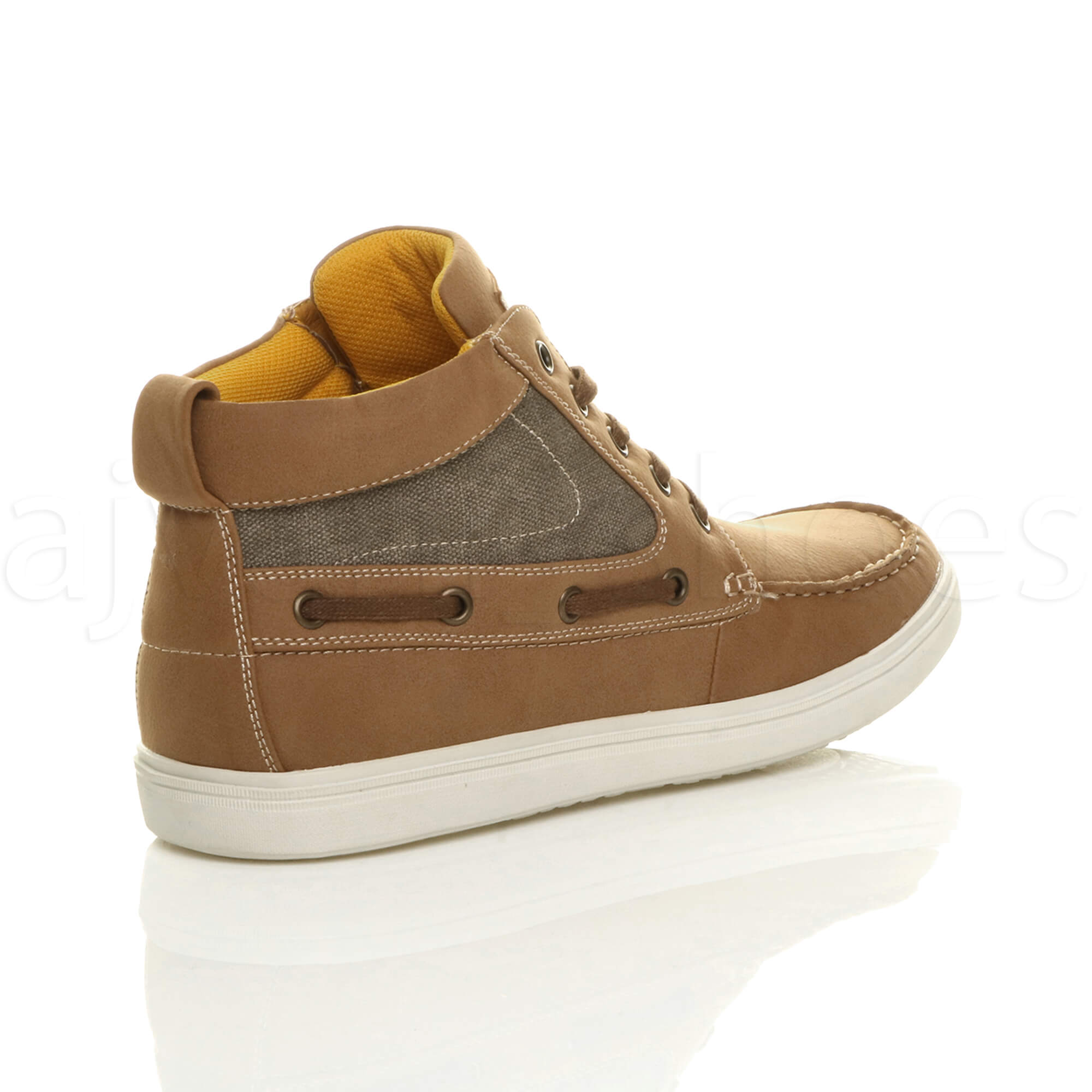 MENS-FLAT-LACE-UP-CASUAL-BOAT-CONTRAST-HI-TOP-TRAINERS-ANKLE-BOOTS-PUMPS-SIZE thumbnail 12