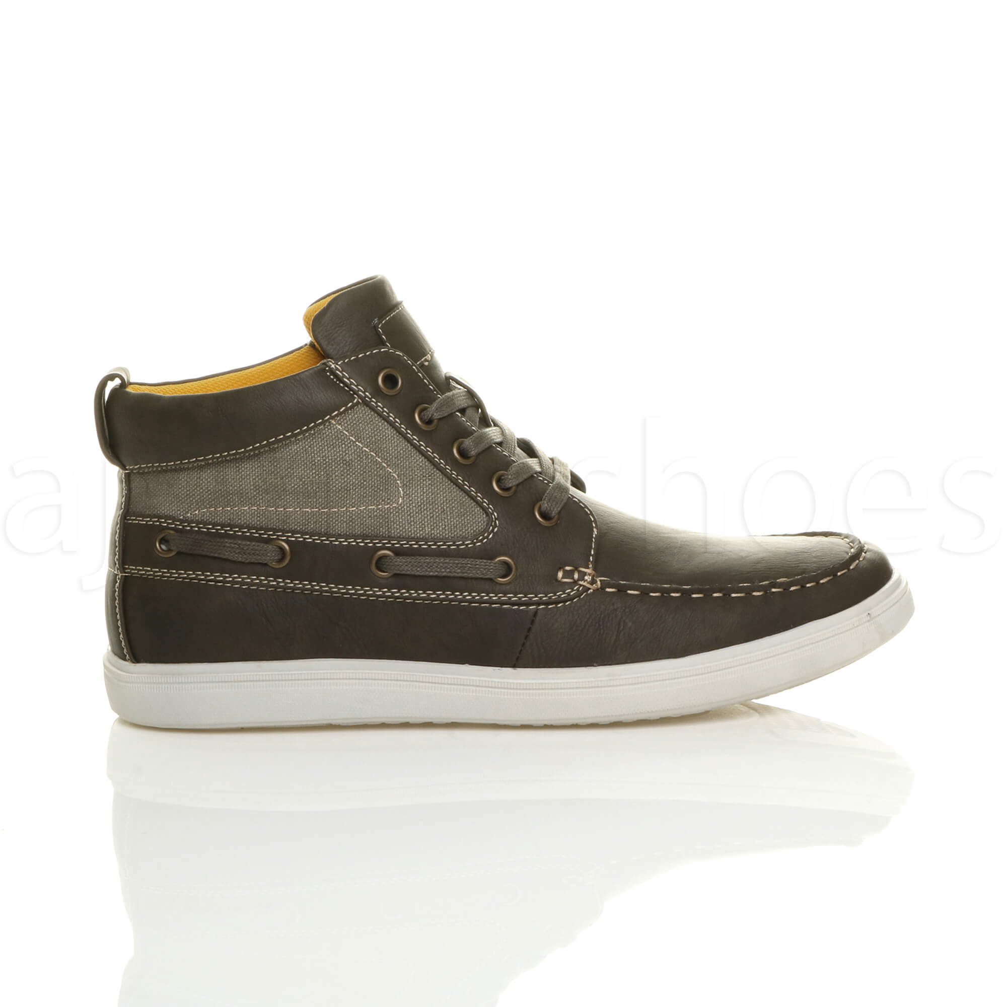 MENS-FLAT-LACE-UP-CASUAL-BOAT-CONTRAST-HI-TOP-TRAINERS-ANKLE-BOOTS-PUMPS-SIZE thumbnail 17