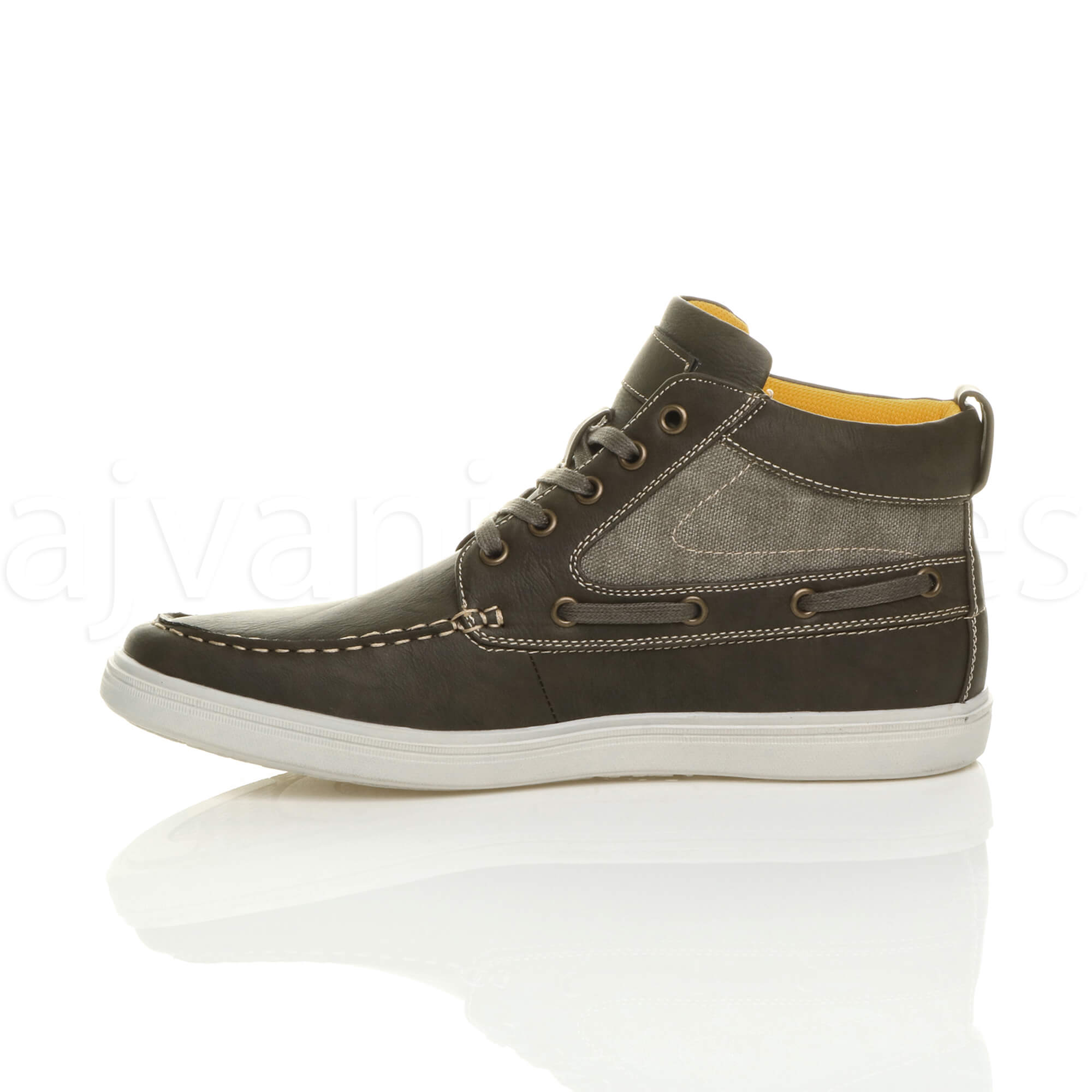 MENS-FLAT-LACE-UP-CASUAL-BOAT-CONTRAST-HI-TOP-TRAINERS-ANKLE-BOOTS-PUMPS-SIZE thumbnail 18