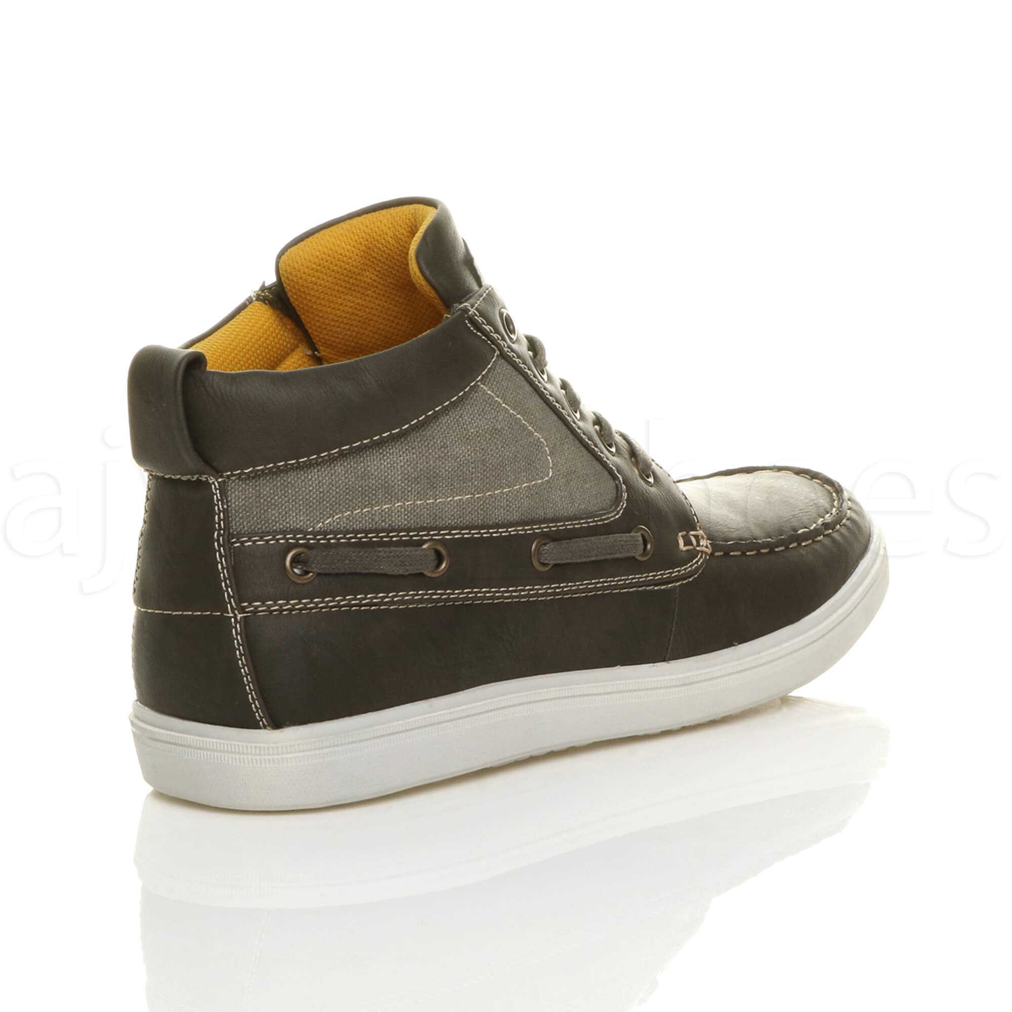 MENS-FLAT-LACE-UP-CASUAL-BOAT-CONTRAST-HI-TOP-TRAINERS-ANKLE-BOOTS-PUMPS-SIZE thumbnail 19