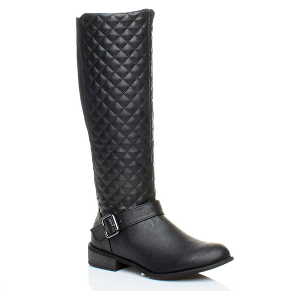 WOMENS-LADIES-LOW-HEEL-FLAT-BIKER-STRETCH-RIDING-ZIP-WIDE-CALF-KNEE-BOOTS-SIZE