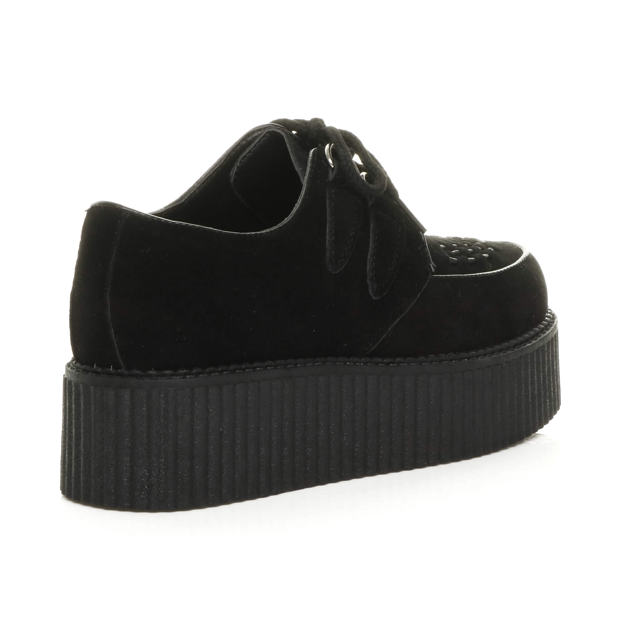 f1cf0d3525d WOMENS LADIES FLAT DOUBLE PLATFORM WEDGE LACE UP PUNK GOTH CREEPERS ...