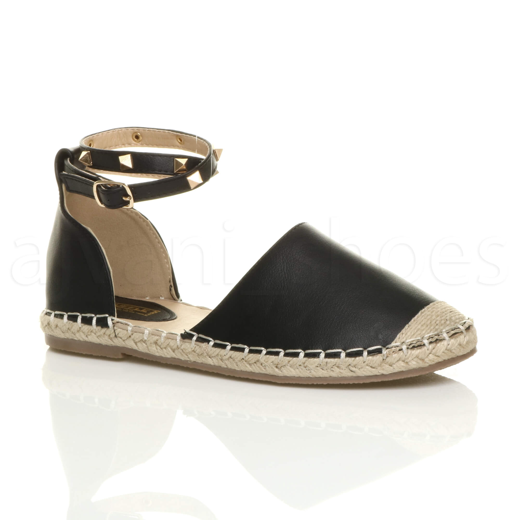 ddca685faa997 WOMENS LADIES FLAT STUDDED ANKLE STRAP ESPADRILLES SUMMER SHOES SANDALS SIZE