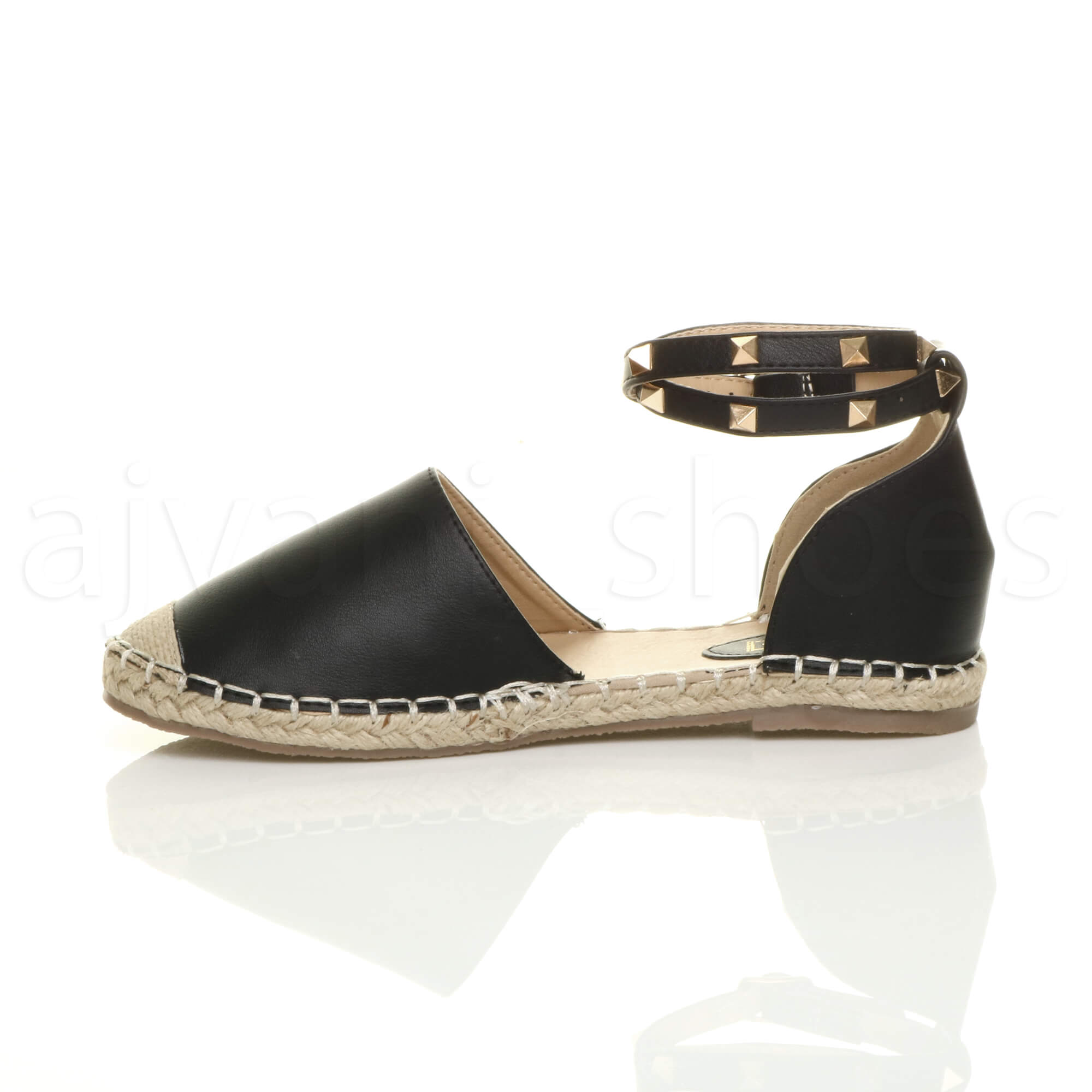 ad7f1444d77ec WOMENS LADIES FLAT STUDDED ANKLE STRAP ESPADRILLES SUMMER SHOES ...