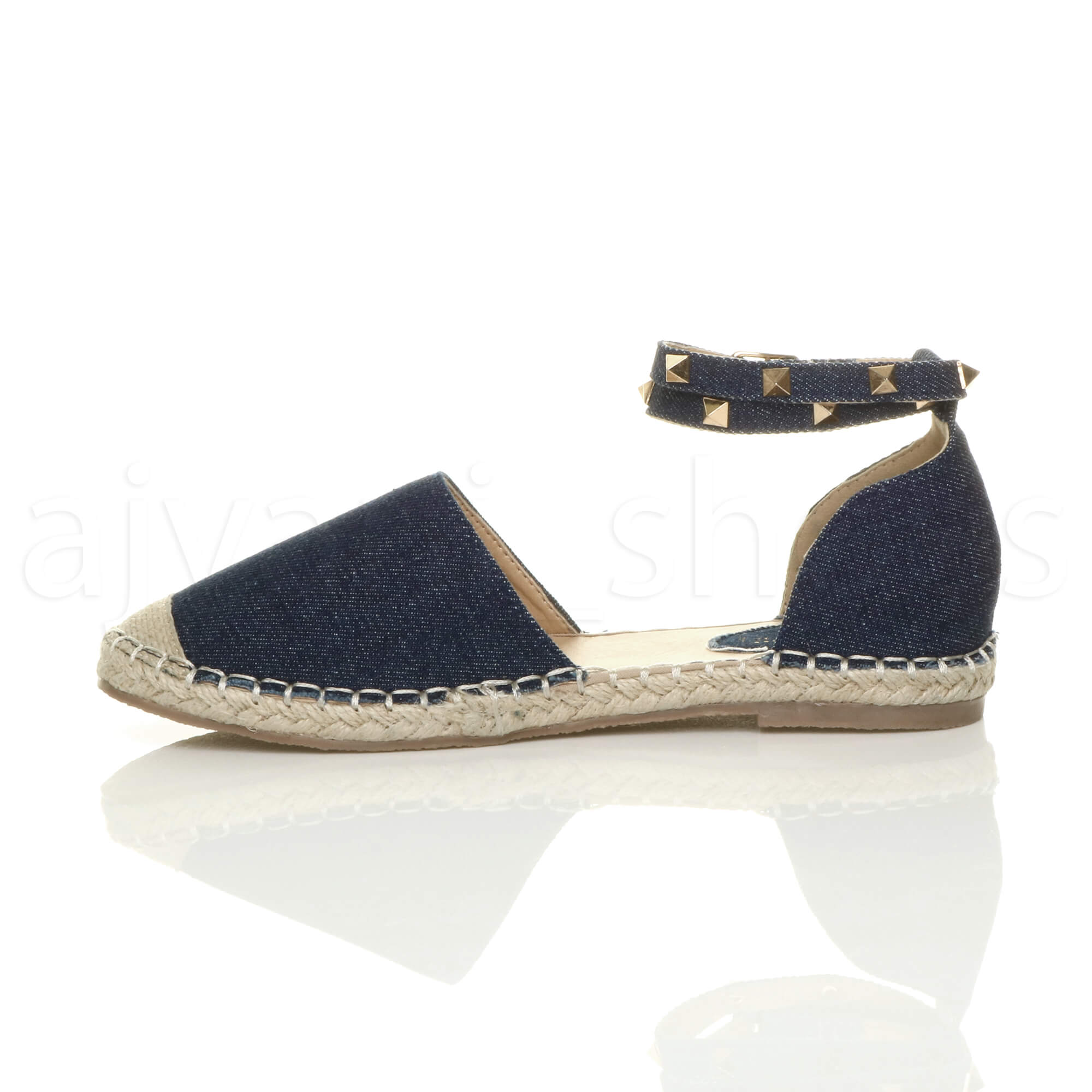 WOMENS-LADIES-FLAT-STUDDED-ANKLE-STRAP-ESPADRILLES-SUMMER-SHOES-SANDALS-SIZE